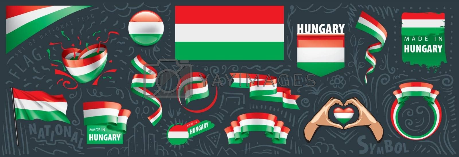 Vector set of the national flag of Hungary in various creative designs.