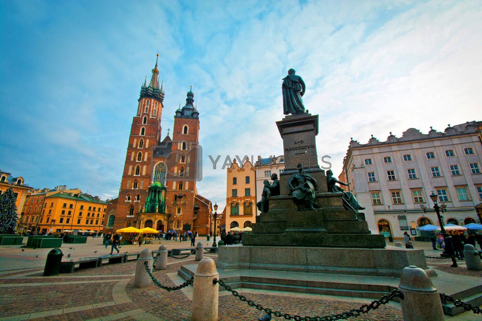 Cracow, Poland. Main Square and St. Mary's Basilica.