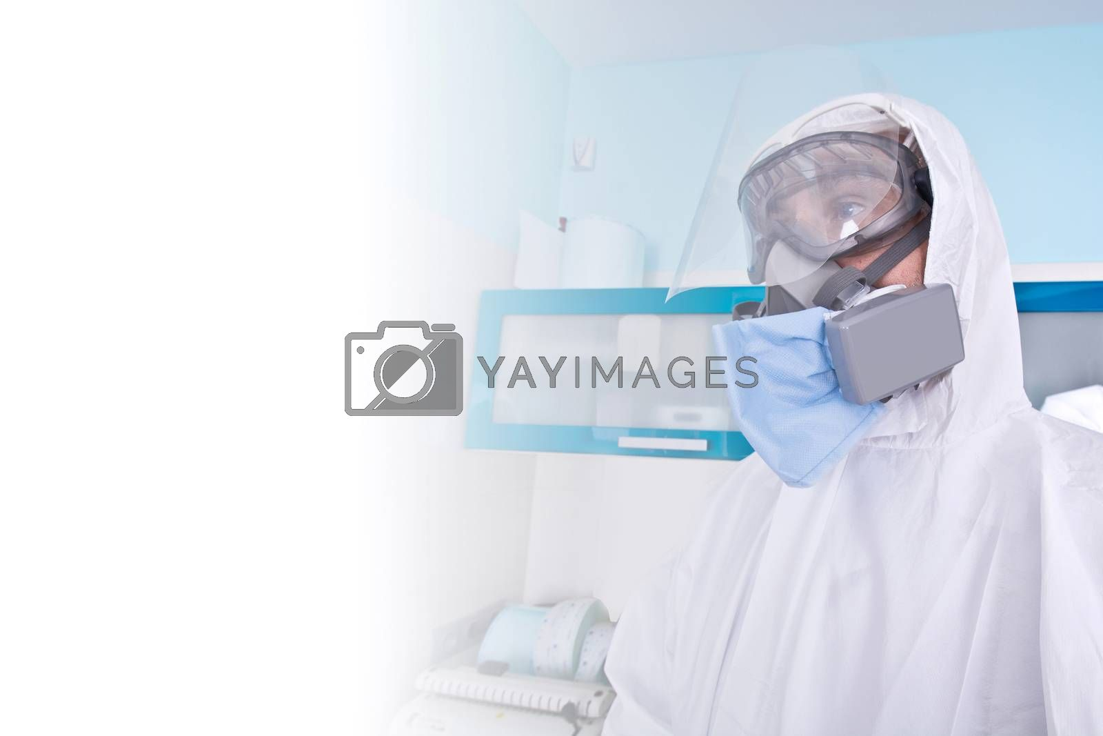 Doctor in protective suit uniform and mask. Coronavirus outbreak. Covid-19 concept.