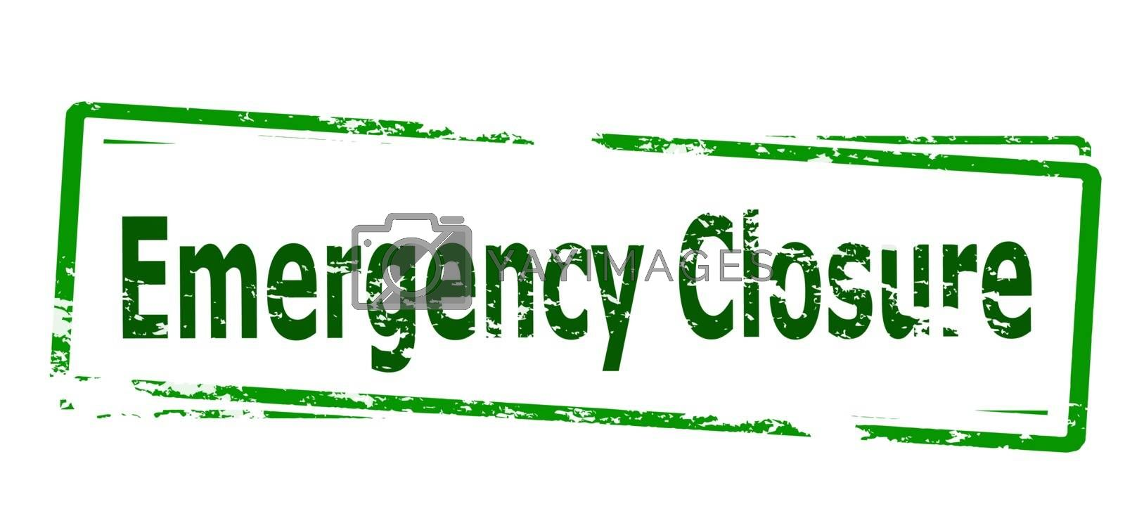 Rubber stamp with text emergency closure inside, vector illustration
