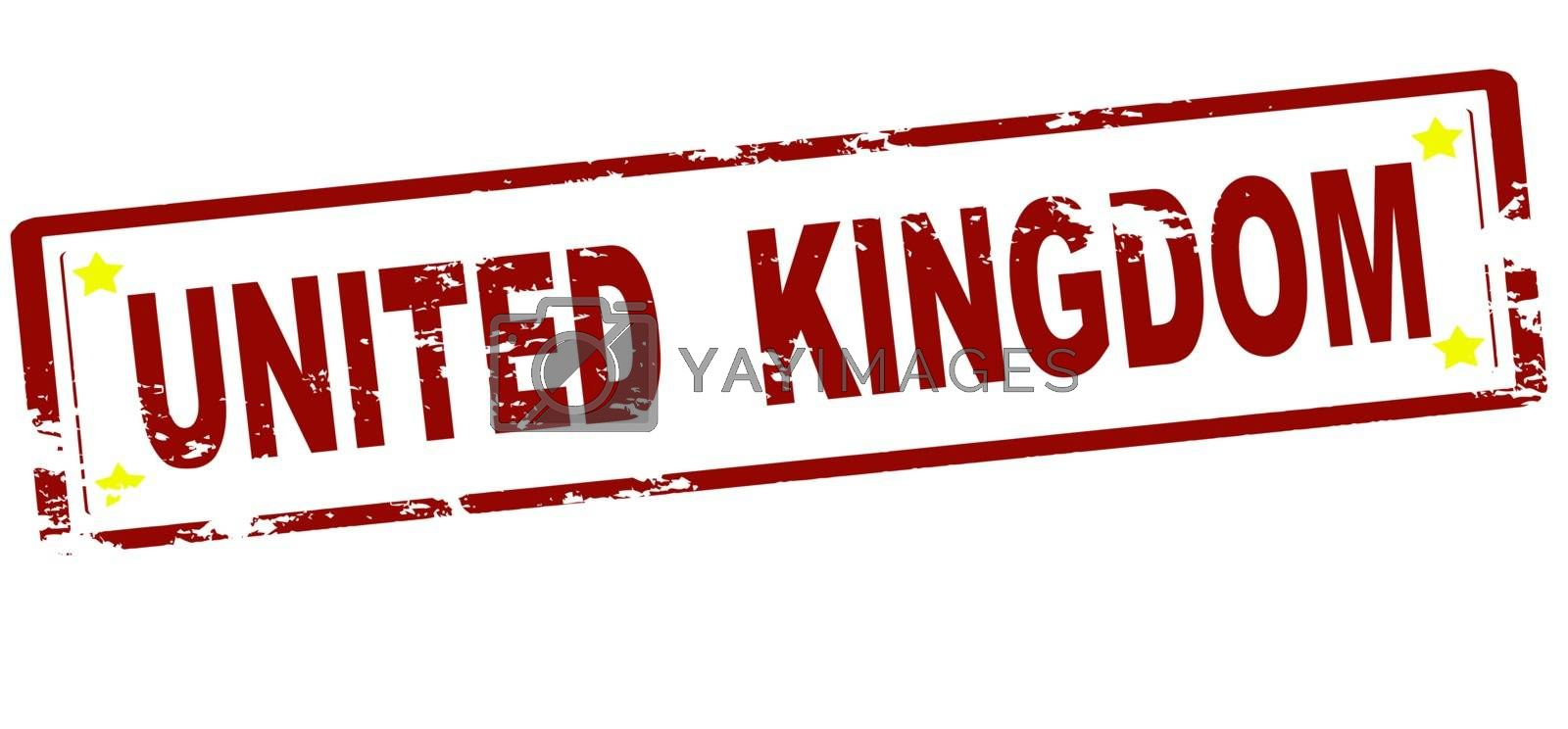 Rubber stamp with text United Kingdom inside, vector illustration