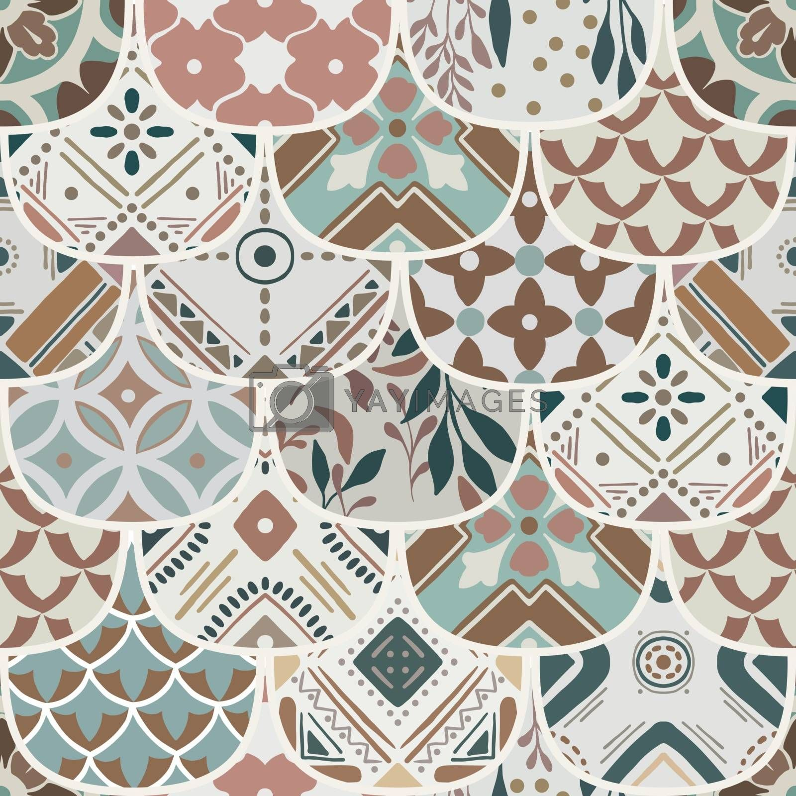 Luxury oriental tile seamless pattern in style of colorful floral patchwork boho chic with mandala in ellipse design elements. Flower vector ornament background with eastern motif