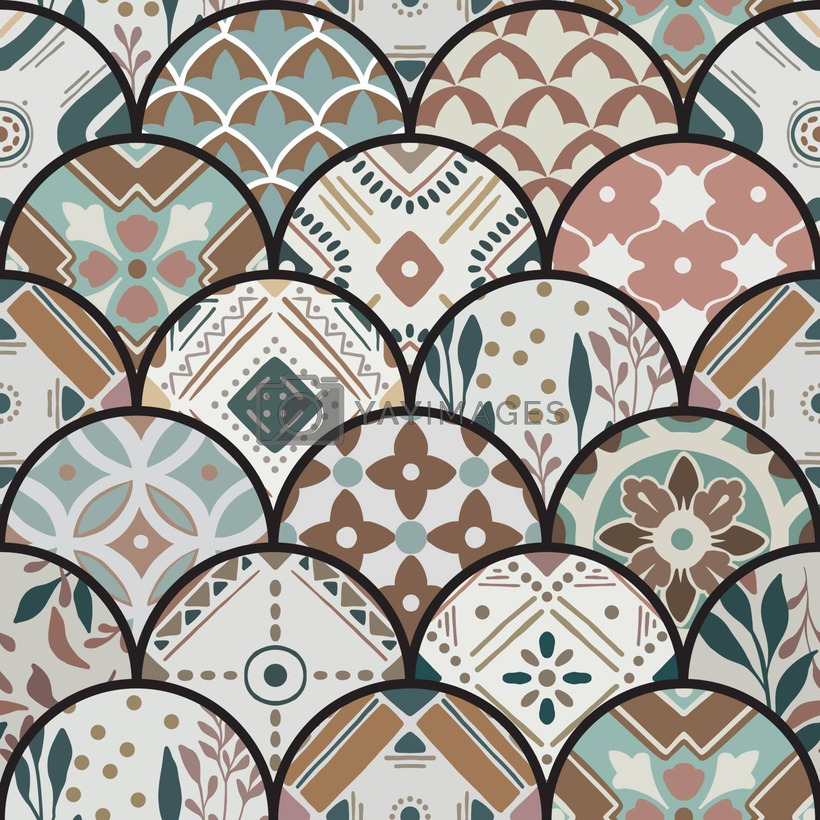 Luxury oriental tile seamless pattern in style of colorful floral patchwork boho chic with mandala in half round design elements. Flower vector ornament background with eastern motif