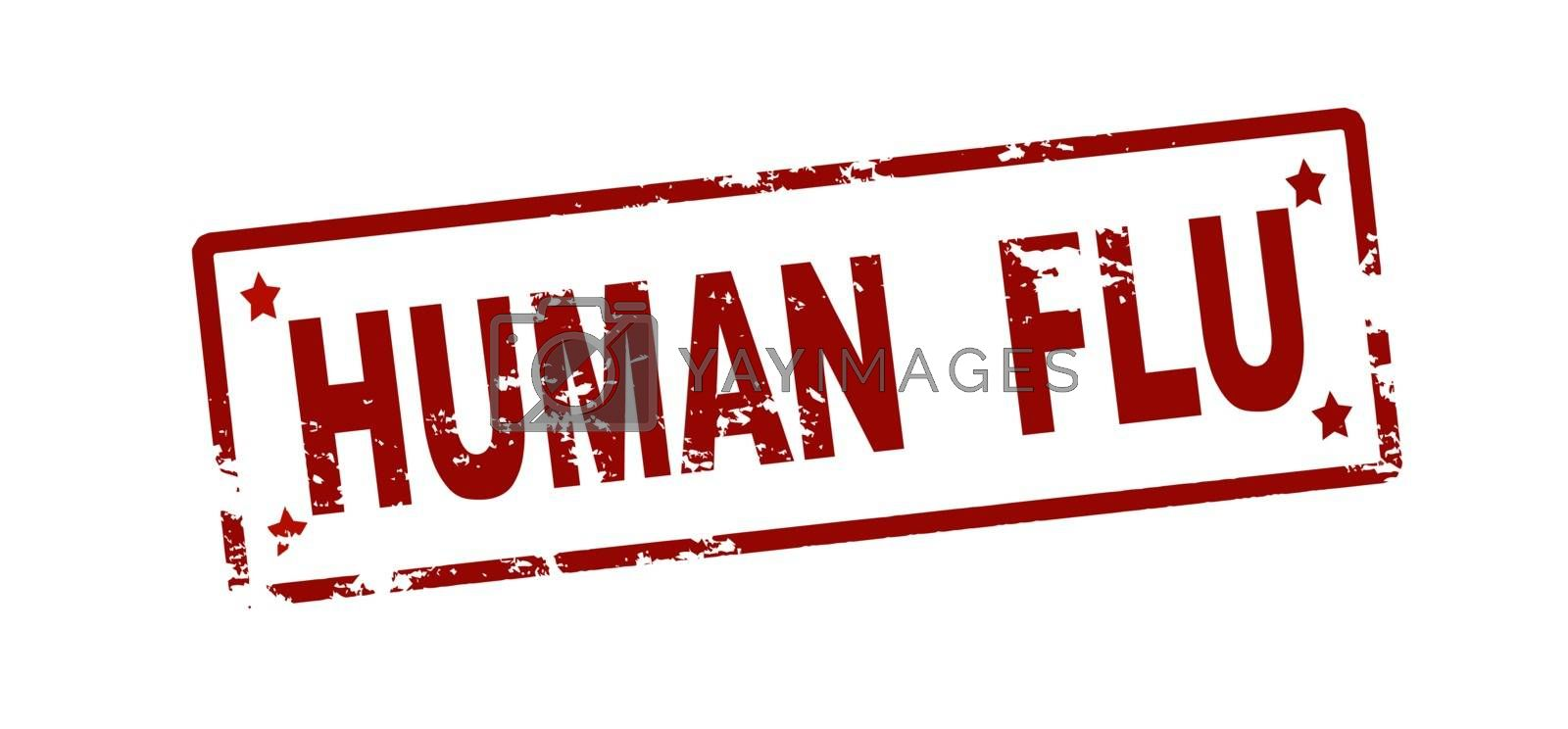 Rubber stamp with text human flu inside, vector illustration