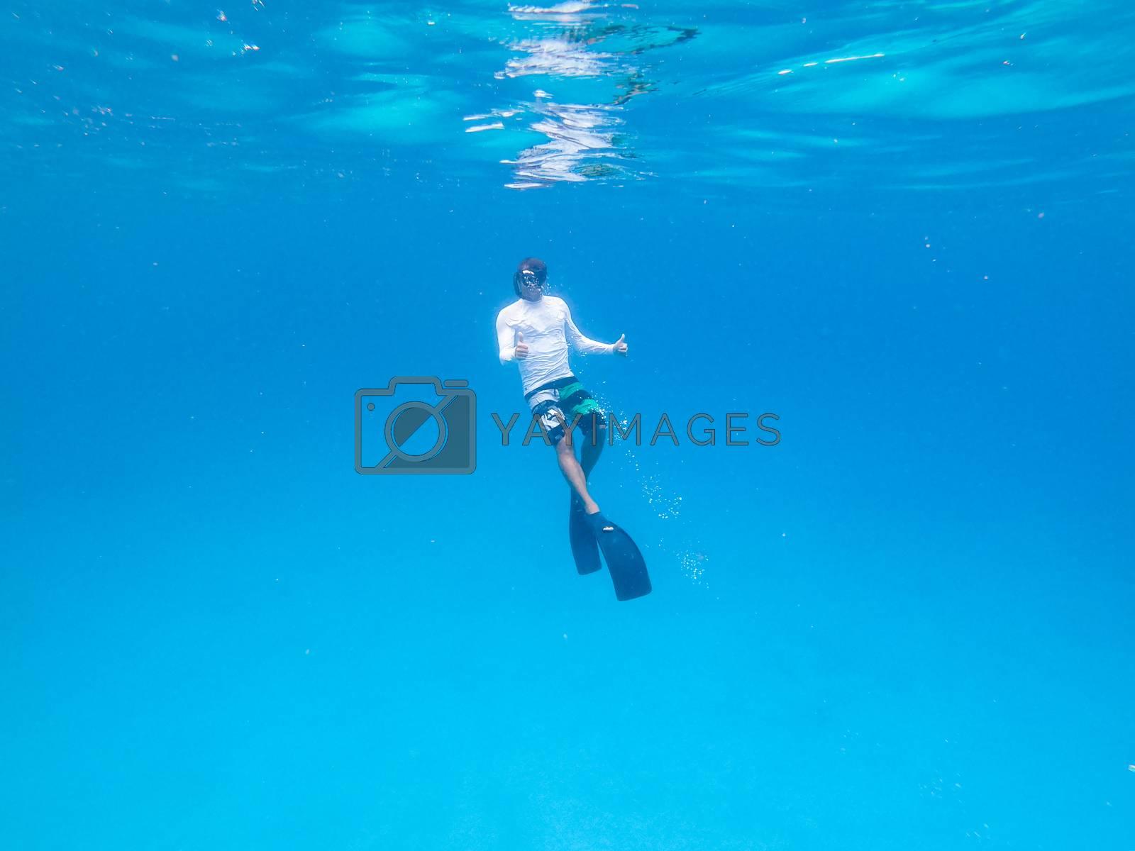 Underwater view of man free diving in blue ocean.