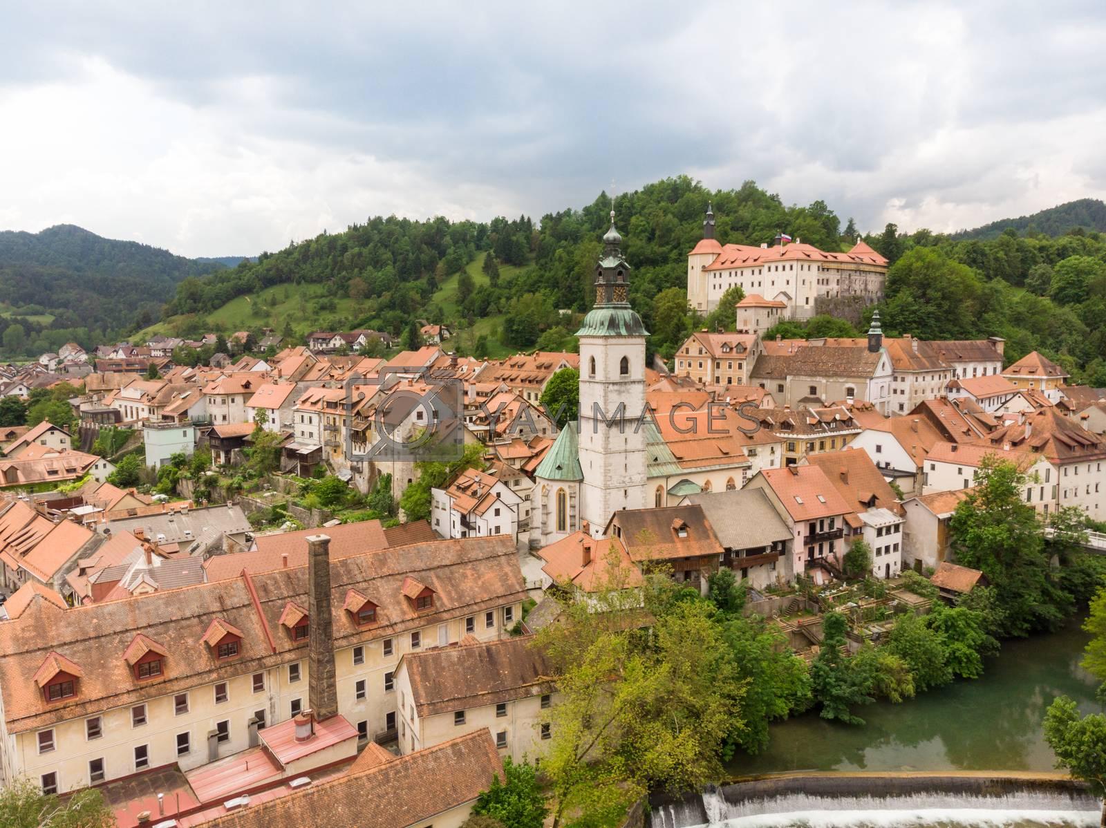 Panoramic aerial view of medieval old town of Skofja Loka, Slovenia.