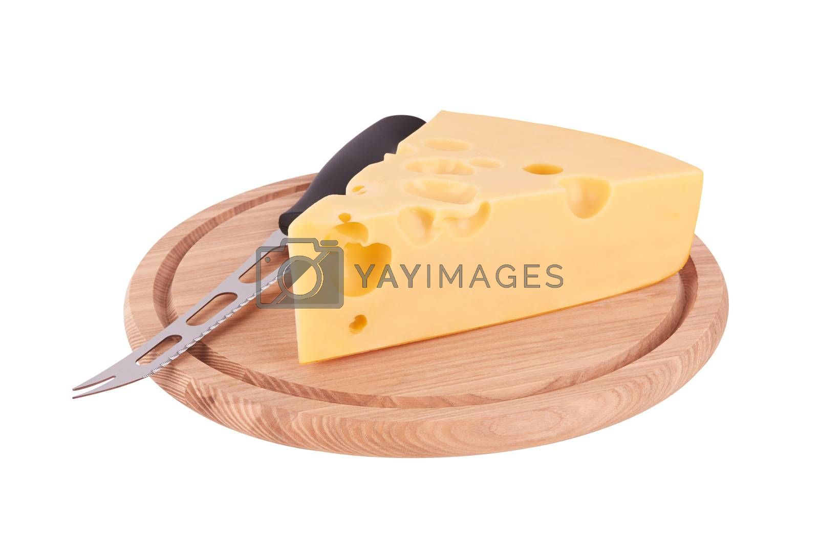 piece of cheese on board isolated on a white background