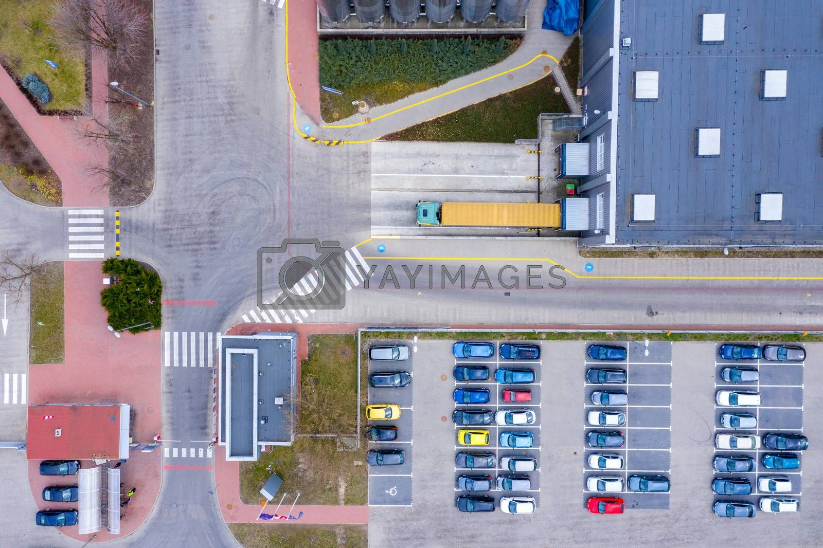 Royalty free image of Aerial Top View of Industrial Warehouse/ Storage Building/ Loadi by jackald