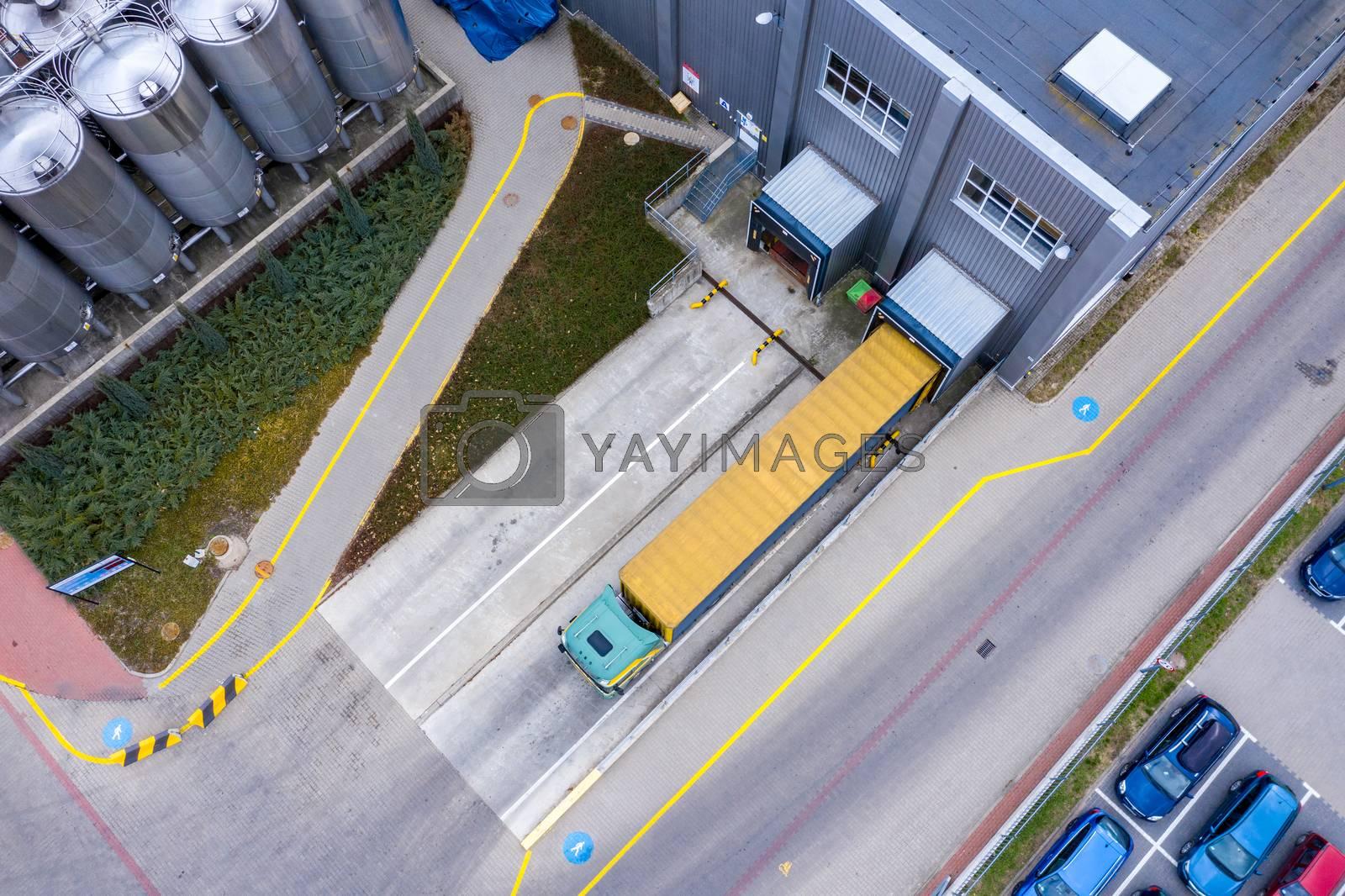 Aerial Top View of Industrial Warehouse/ Storage Building/ Loadi