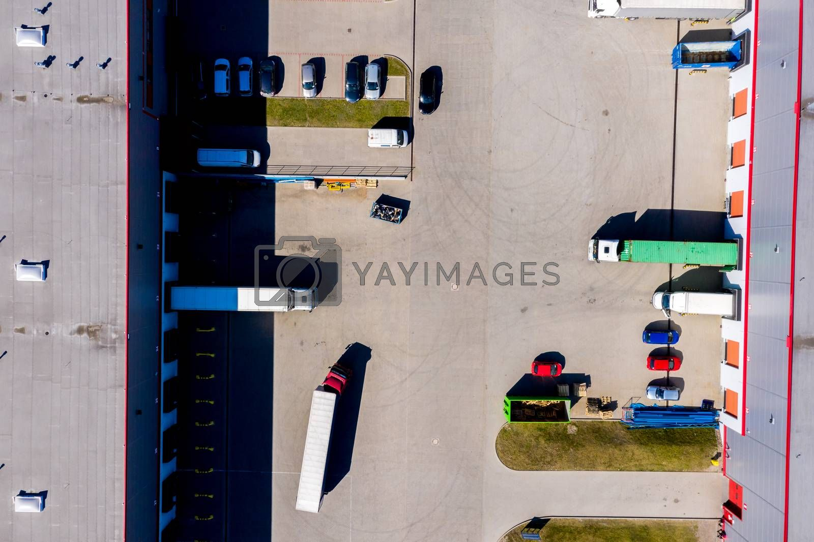 Distribution logistics buildings and industrial area - aerial view