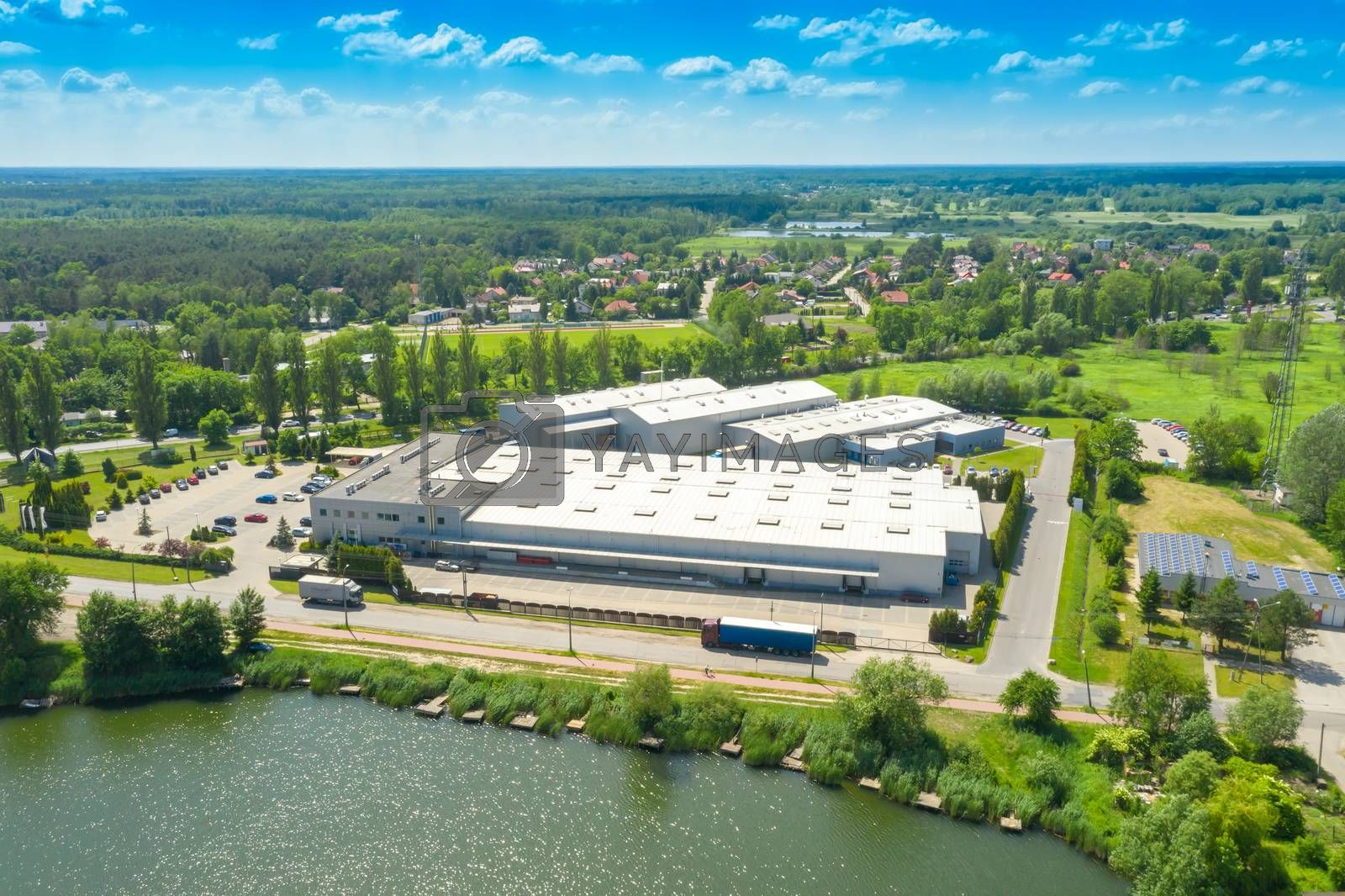 Royalty free image of Aerial view of goods warehouse. Logistics center in industrial c by jackald