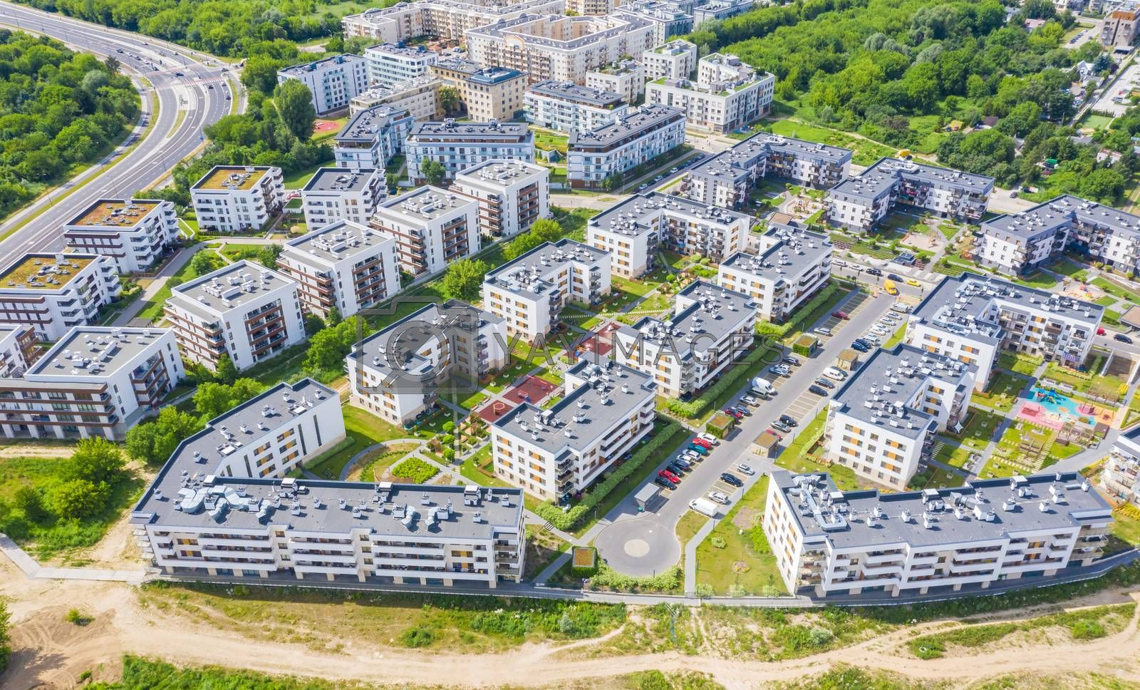 Aerial view of the residential area of the city