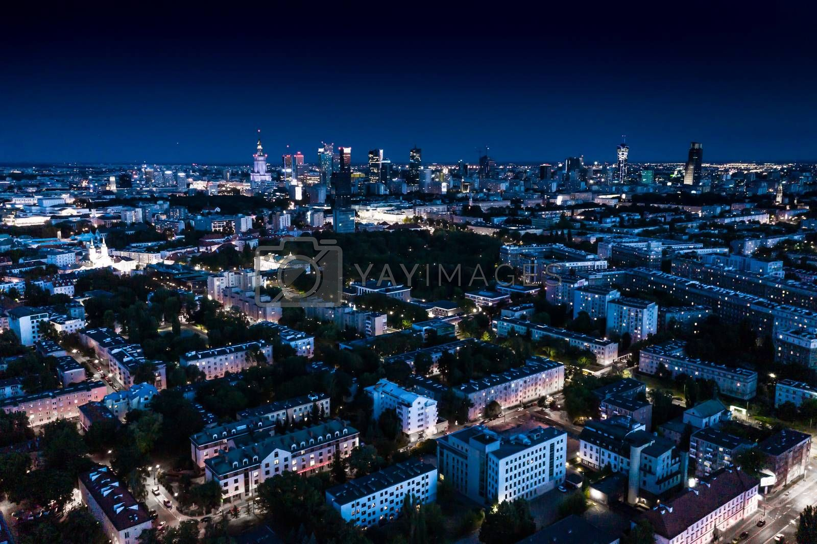 Night panorama of Warsaw city center, Poland. City Center. Europe. Aerial View