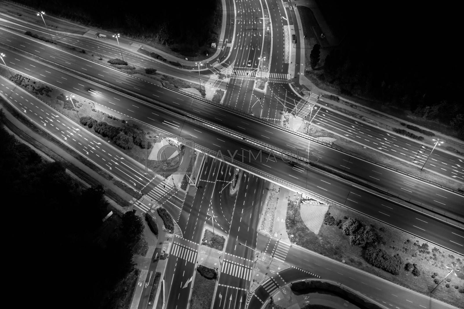 Road beautiful Aerial View of Busy Intersection , top view , Europe at night