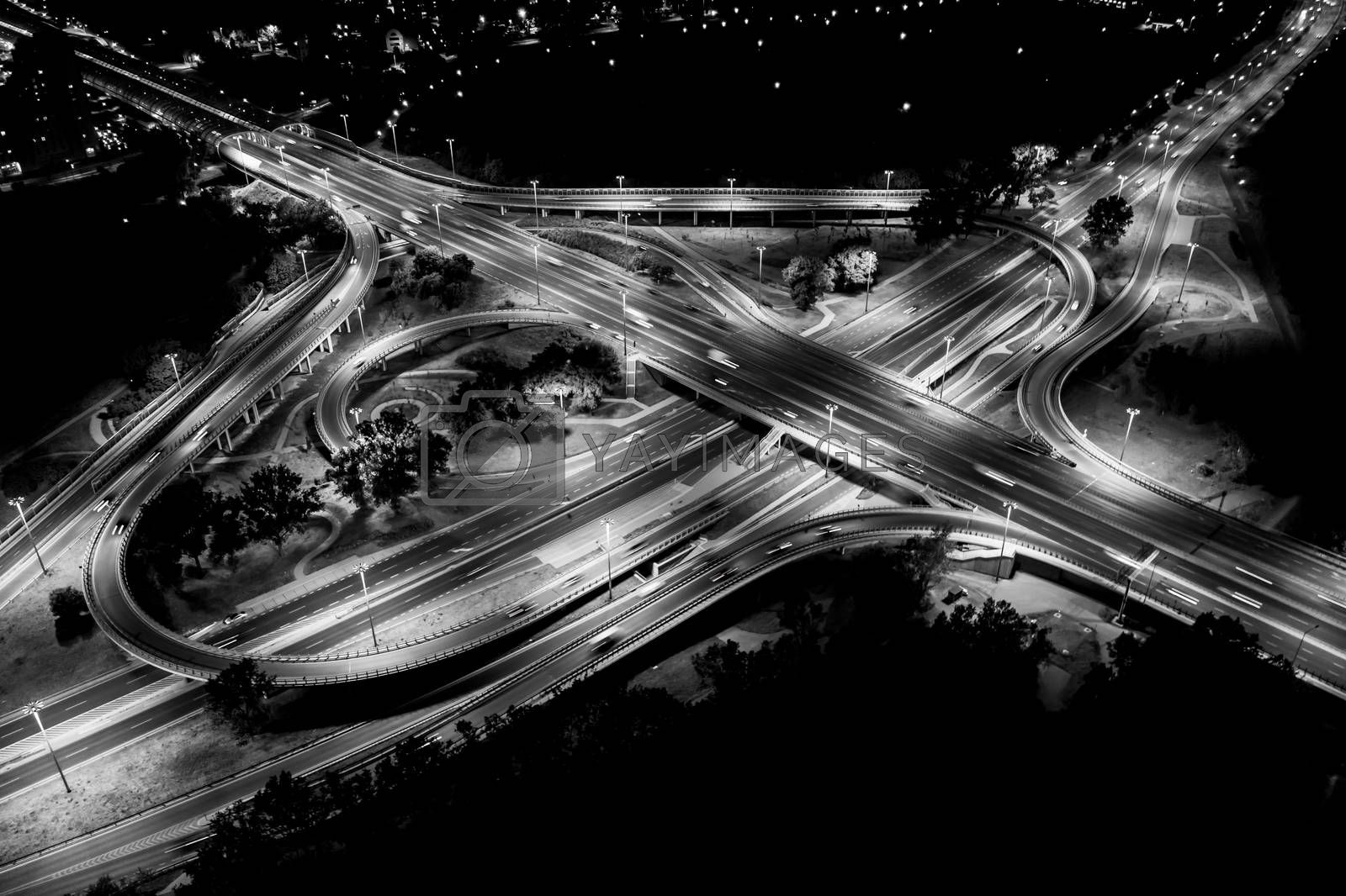 City interchange closeup at night , beautiful transport infrastructure background. Black and White. Aerial view