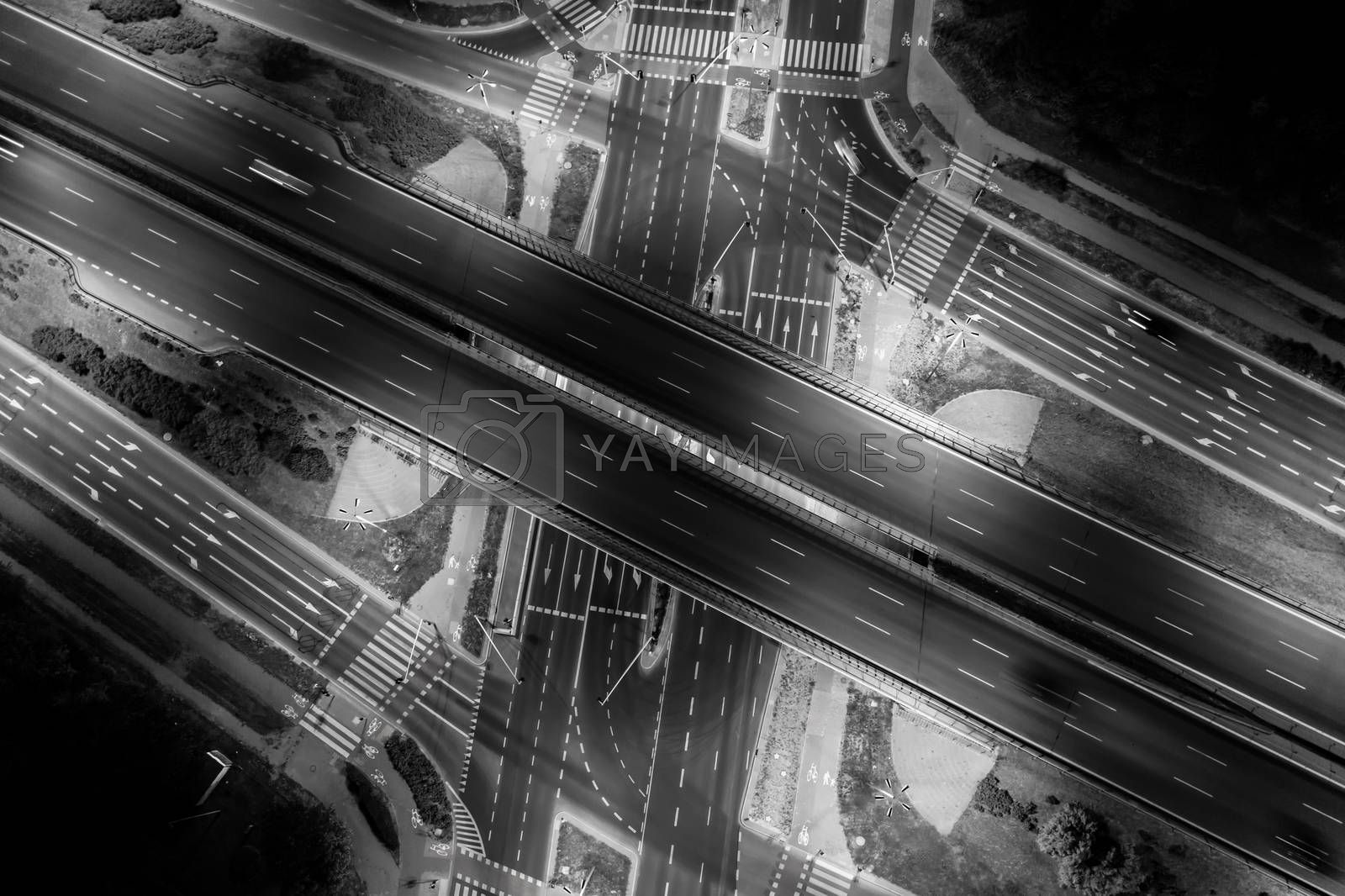 Aerial view of a Unique City Roads and Interchanges, Bangkok Expressway top view, Top view over the highway, expressway and motorway at night Aerial view from drone