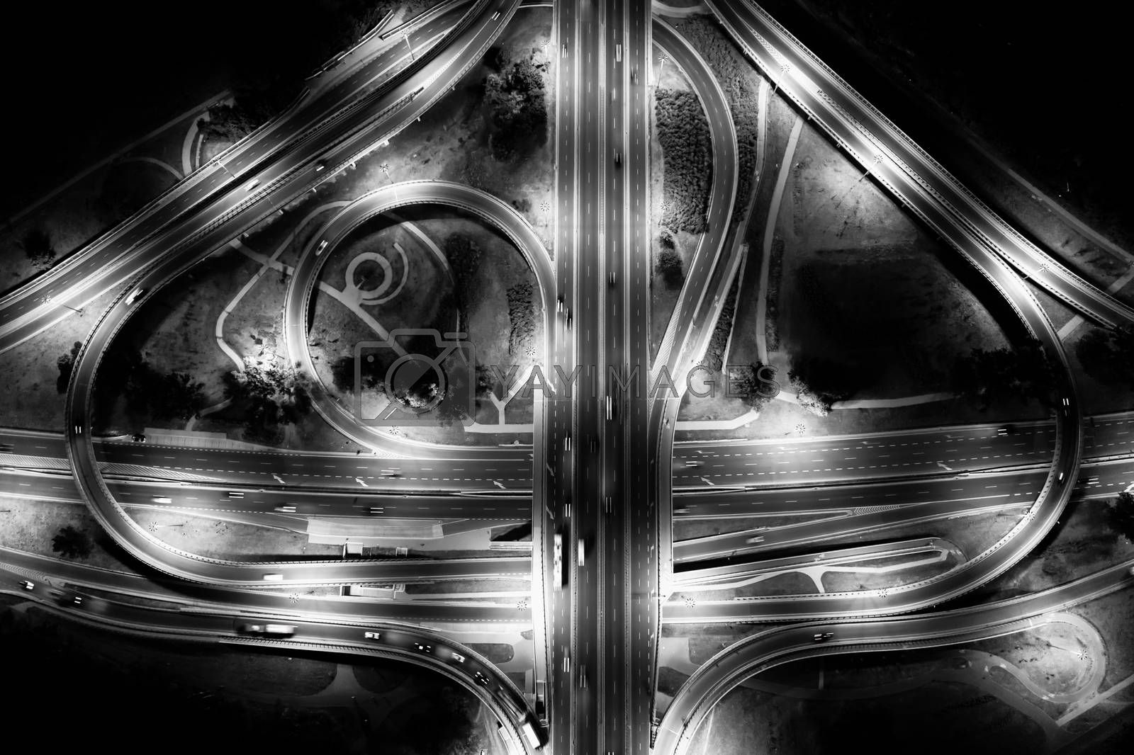Aerial view of highway junctions. Bridge roads  sign in structure of architecture concept. Top view. Urban city, Black and White