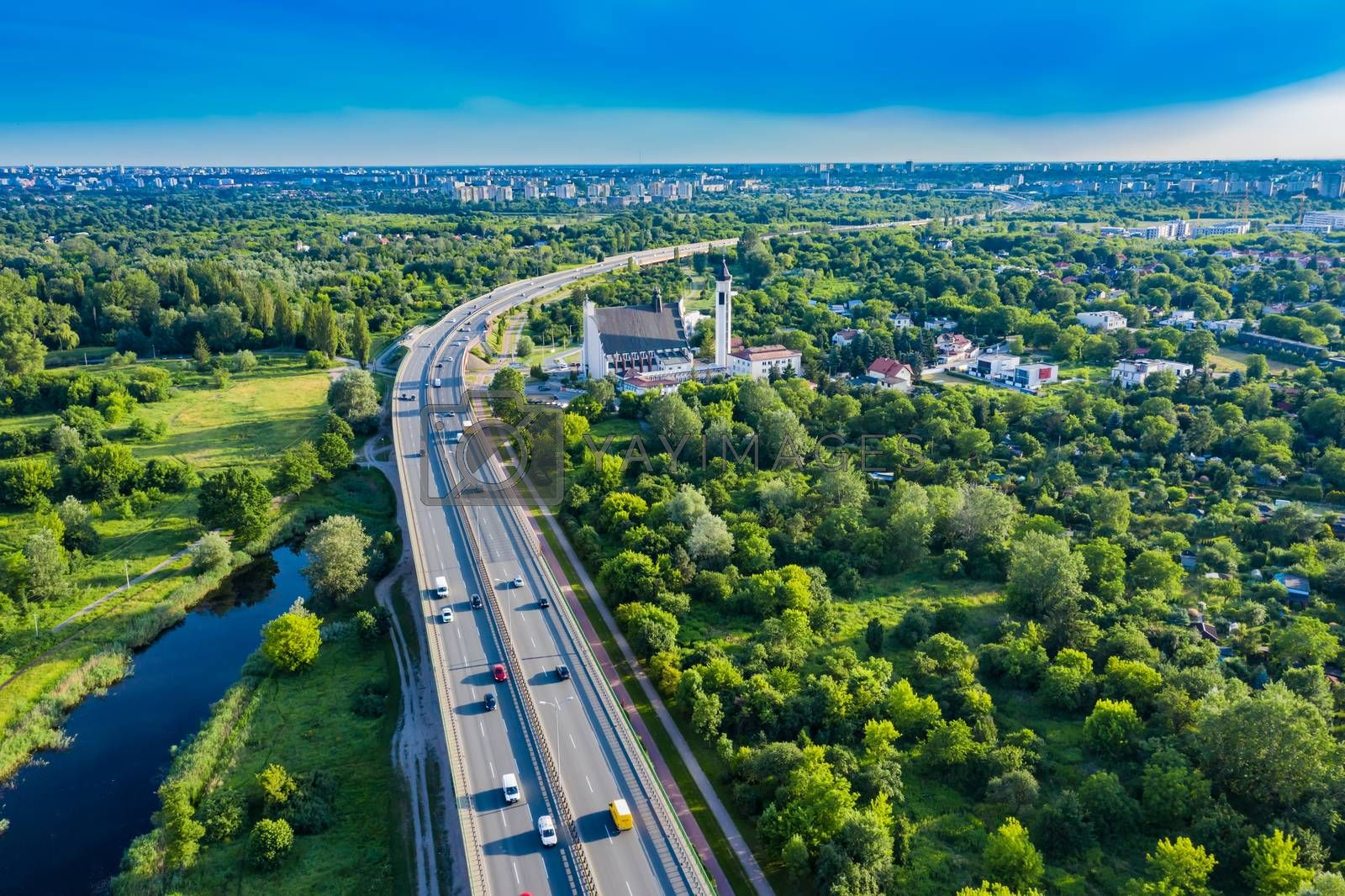 Aerial Drone Flight top down View of freeway busy city rush hour heavy traffic jam highway. Aerial view of the vehicular intersection, traffic at peak hour with cars on the road. Bridge Top View