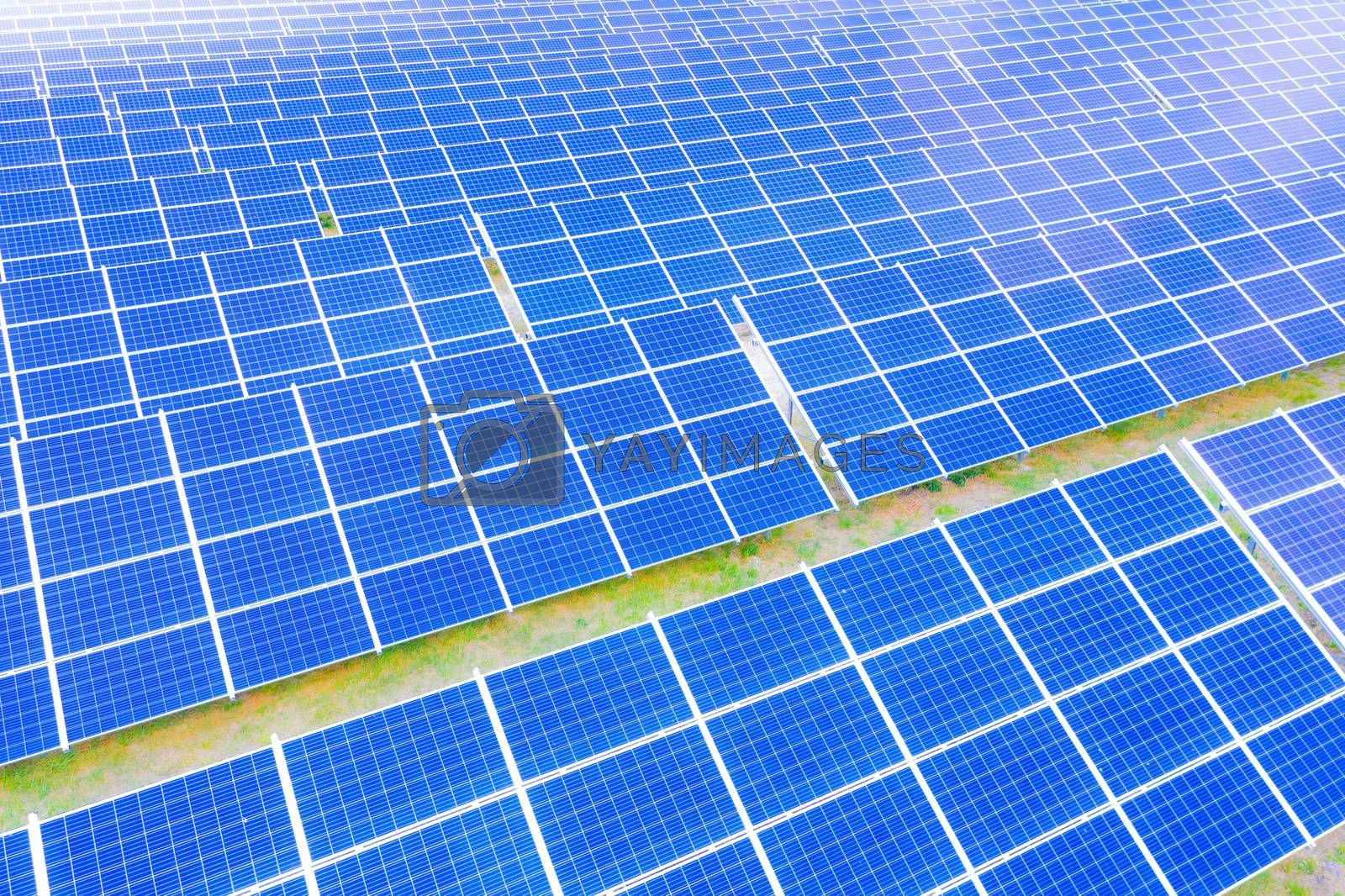Renewable Energy and Sustainable Development / Park of Photovoltaic Solar Panels . Aerial view of Solar panels Photovoltaic systems industrial landscape