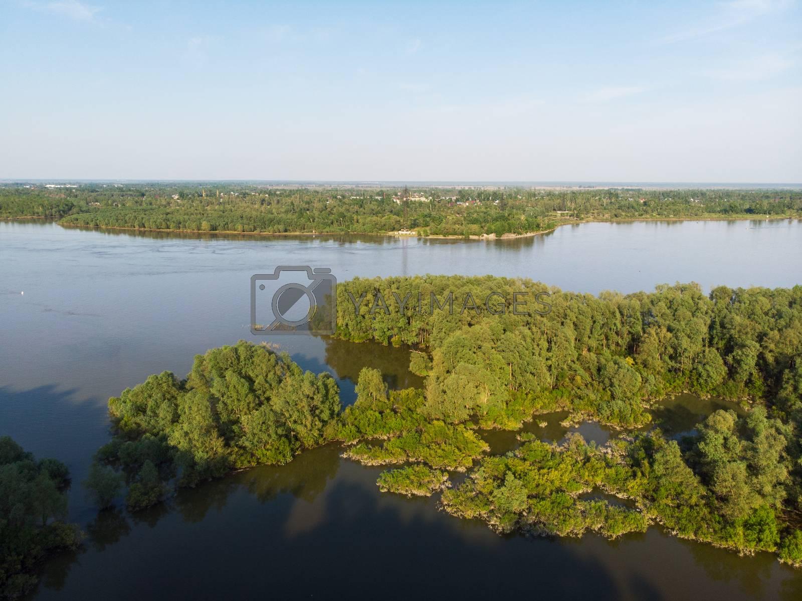 Royalty free image of Aerial view of big siberian Ob river by rusak