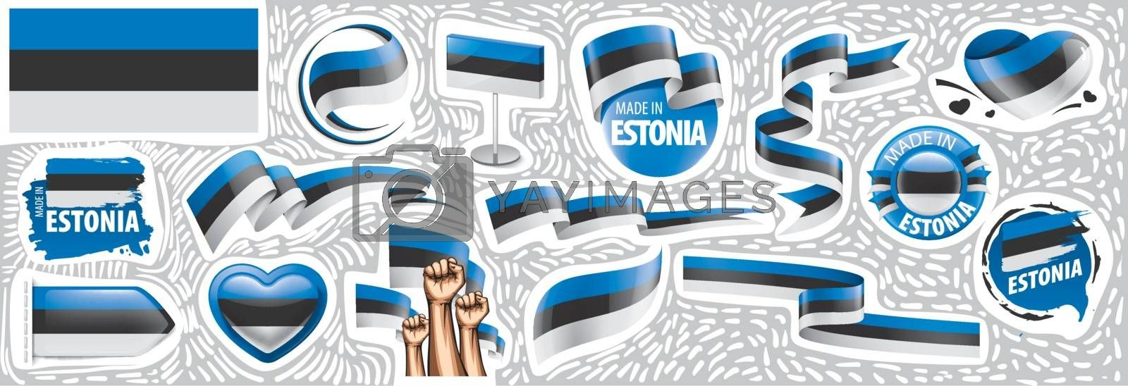 Vector set of the national flag of Estonia in various creative designs.