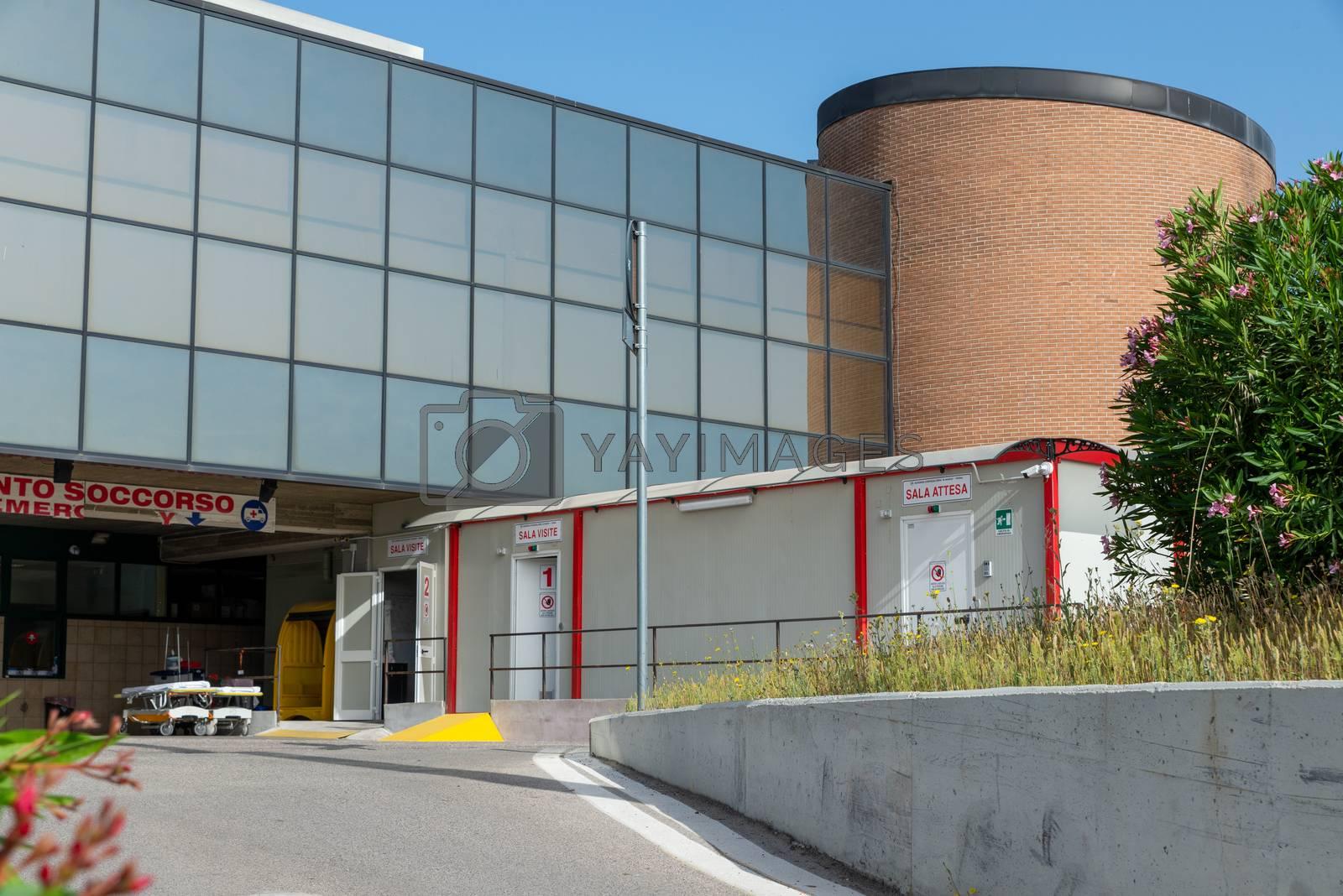terni,italy may 17 2020 :emergency room of the santa maria di terni hospital set up for covid emergency 19