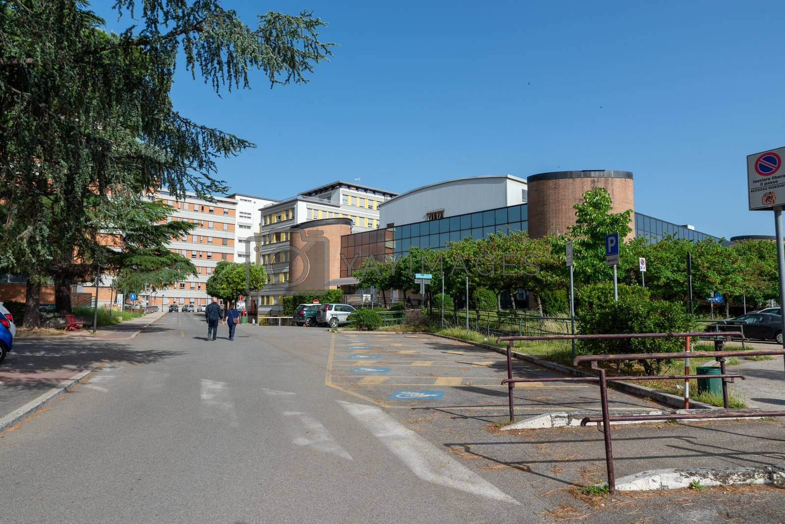 terni,italy may 17 2020 :Santa Maria hospital with emergency aid on the right desert for covid emergency 19