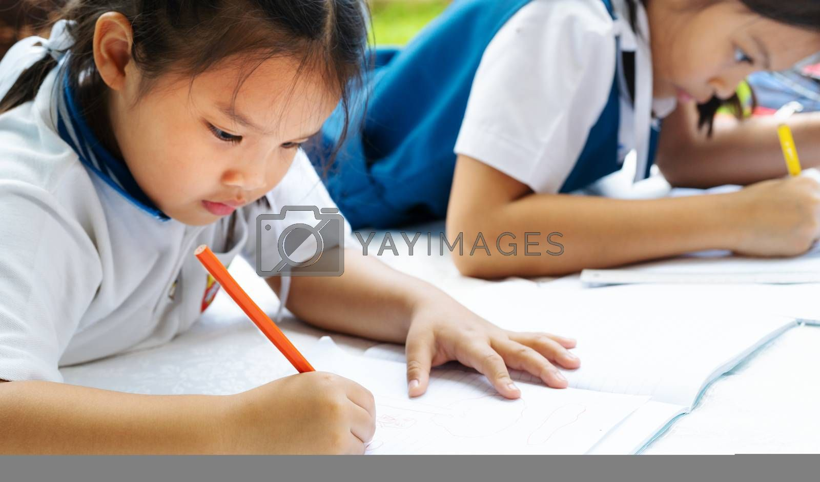 two sister girl writes to writing-books. The decision of lessons. girl lay down drawing the picture