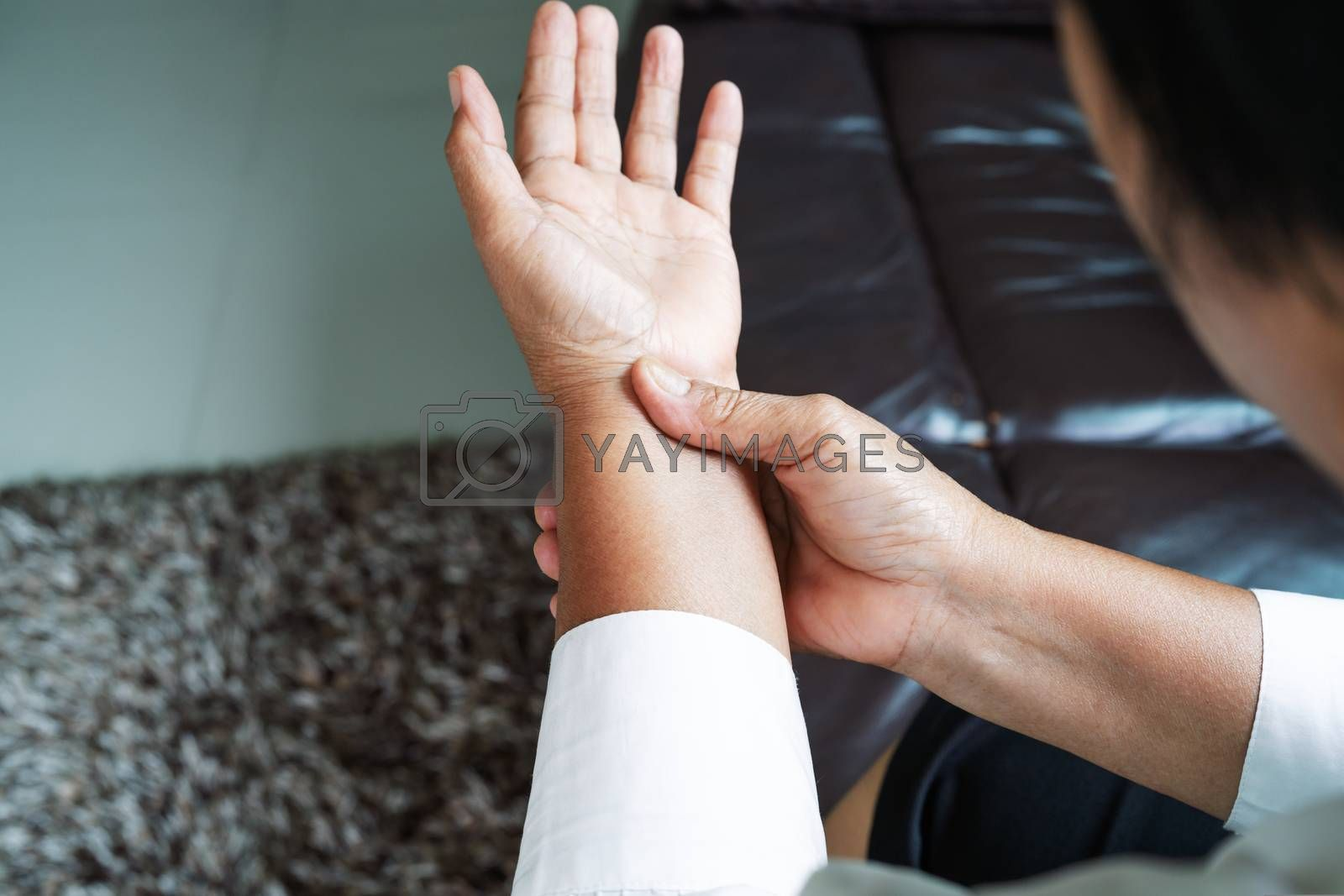 old woman suffering from wrist hand pain, health problem concept