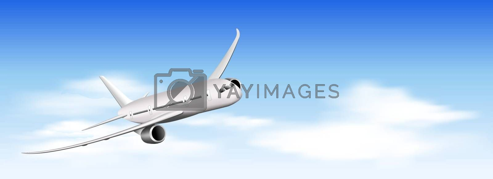 Airplane on a background of blue sky and white clouds. A plane flying in the sky.