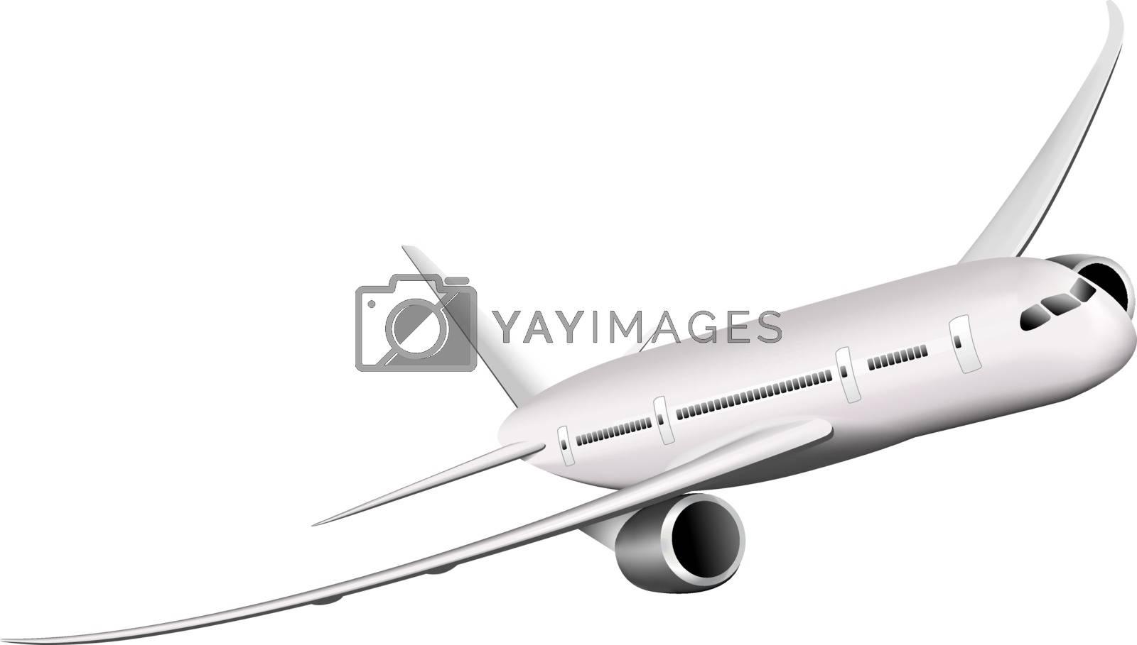 Passenger airplane on a white background. Large modern airliner. Vector illustration.