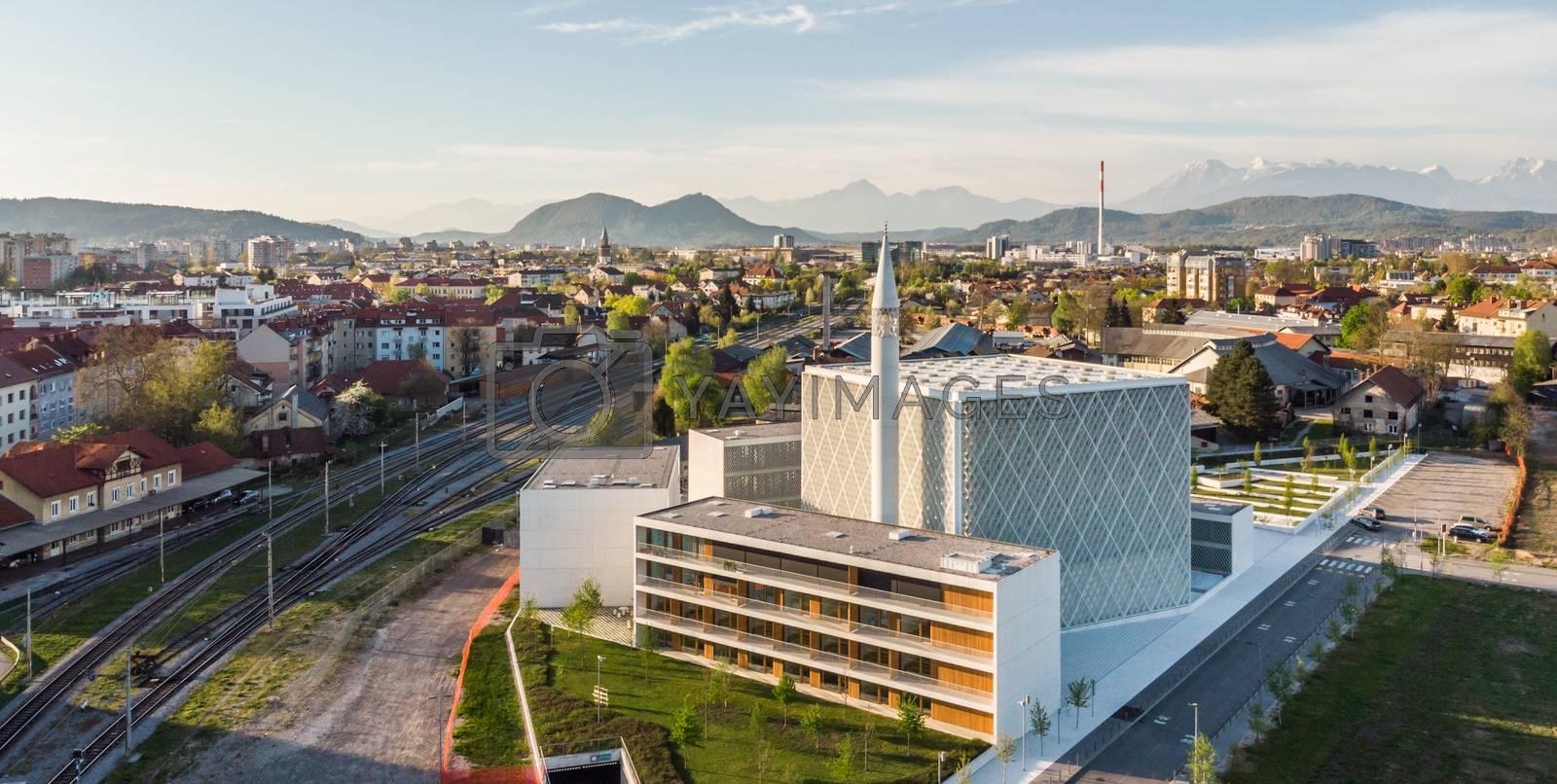 Modern archiecture of islamic religious cultural centre under construction in Ljubljana, Slovenia, Europe.