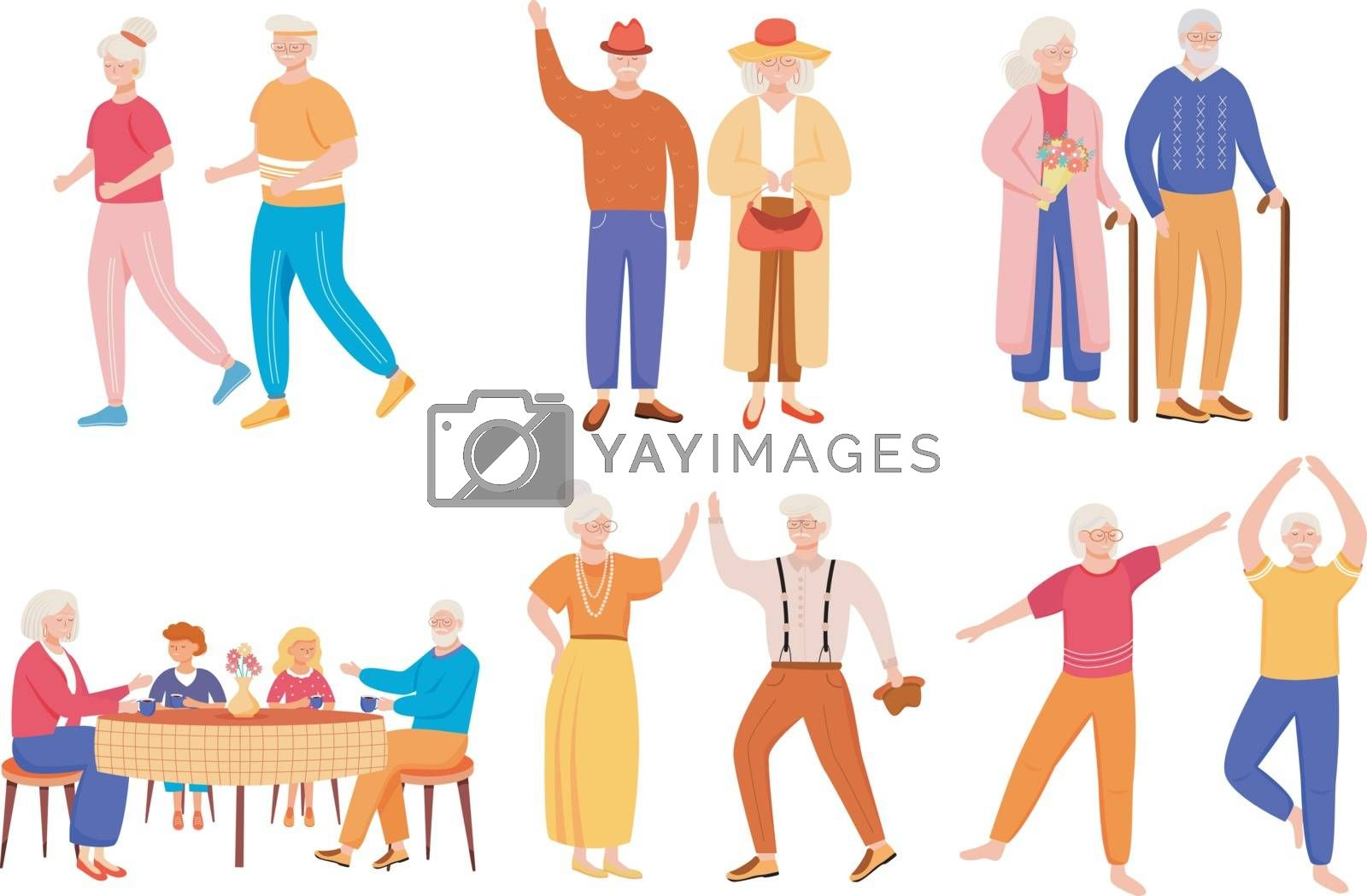 Retired people flat vector illustrations set. Senior age family romantic pastime. Healthy lifestyle. Old couple spends time together. Pensioners isolated cartoon characters