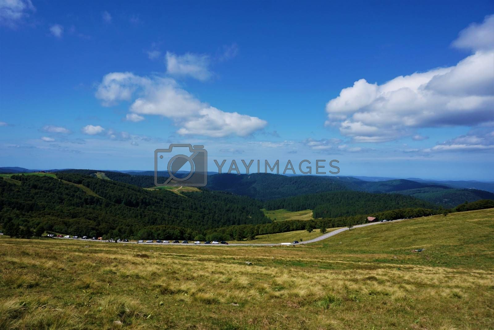 Beautiful view from Le Hohneck mountain over the hilly landscape of the Vosges mountain range in France