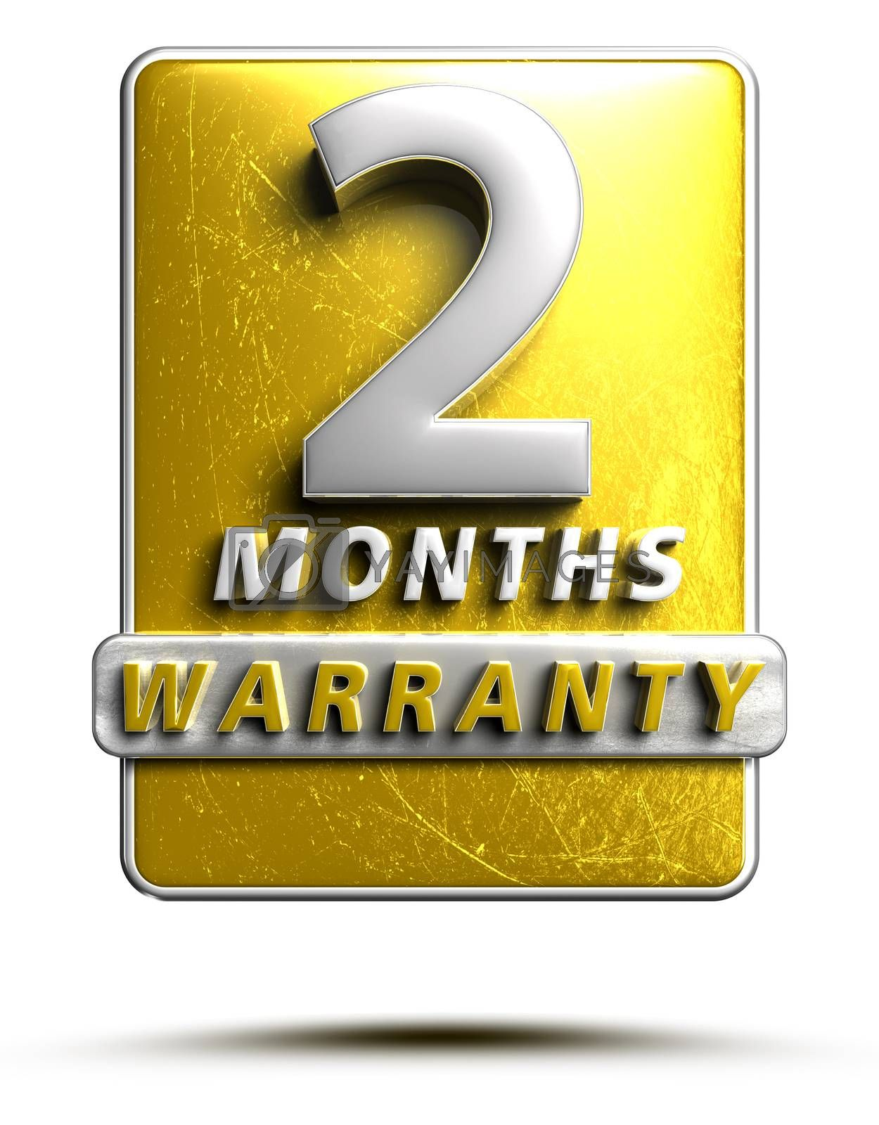 Warranty label 3D illustration 2 months Gold Color Numbers in stainless steel Isolated on a white background. (With Clipping Path).