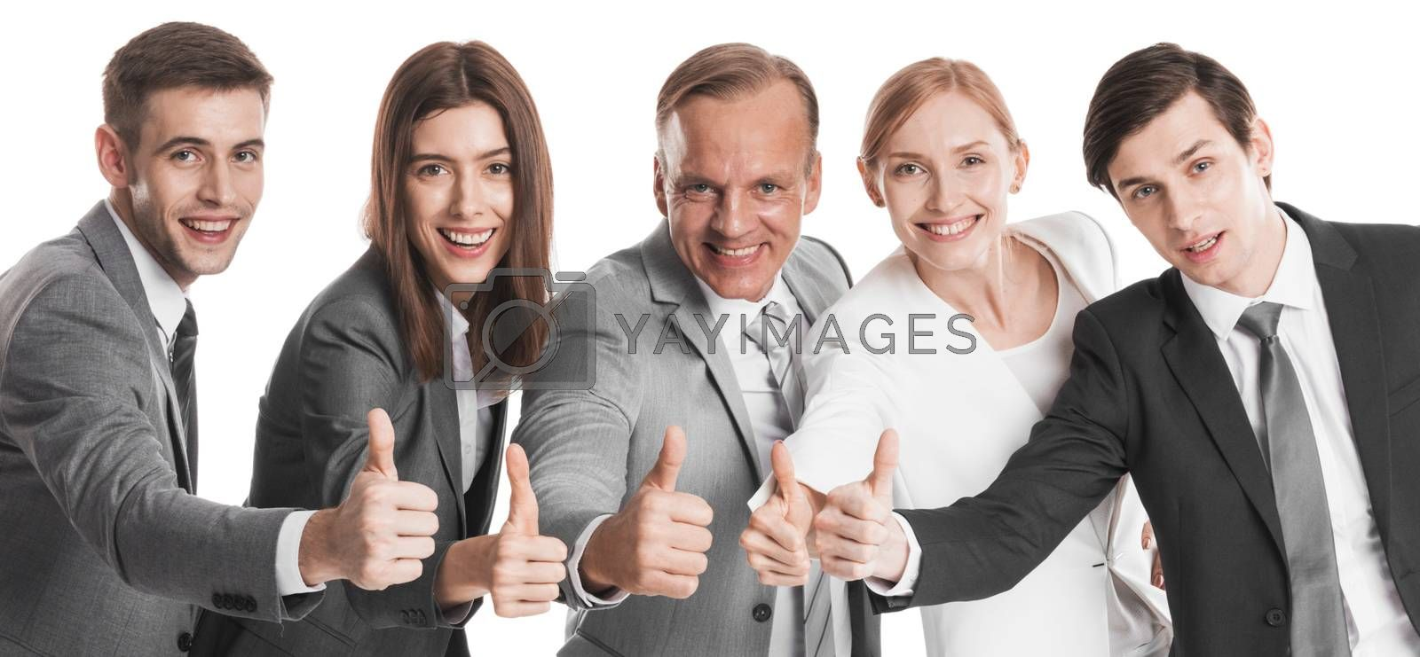 Team of happy successful business people with thumb up isolated over white background
