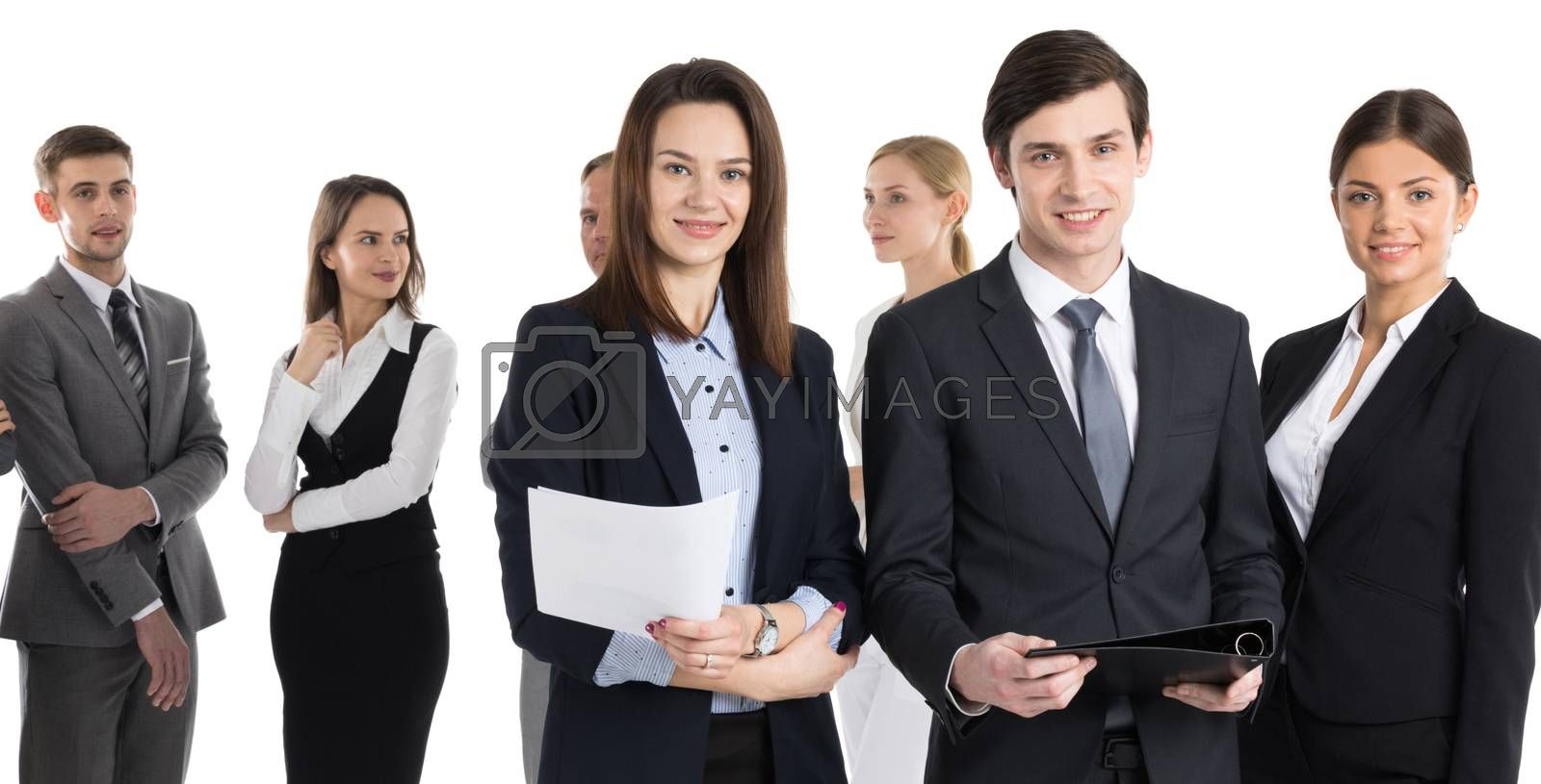 Business people team with contract documents isolated on white background