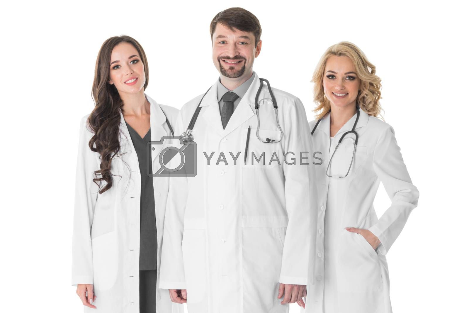 Happy medical team of doctors man and women isolated on white background