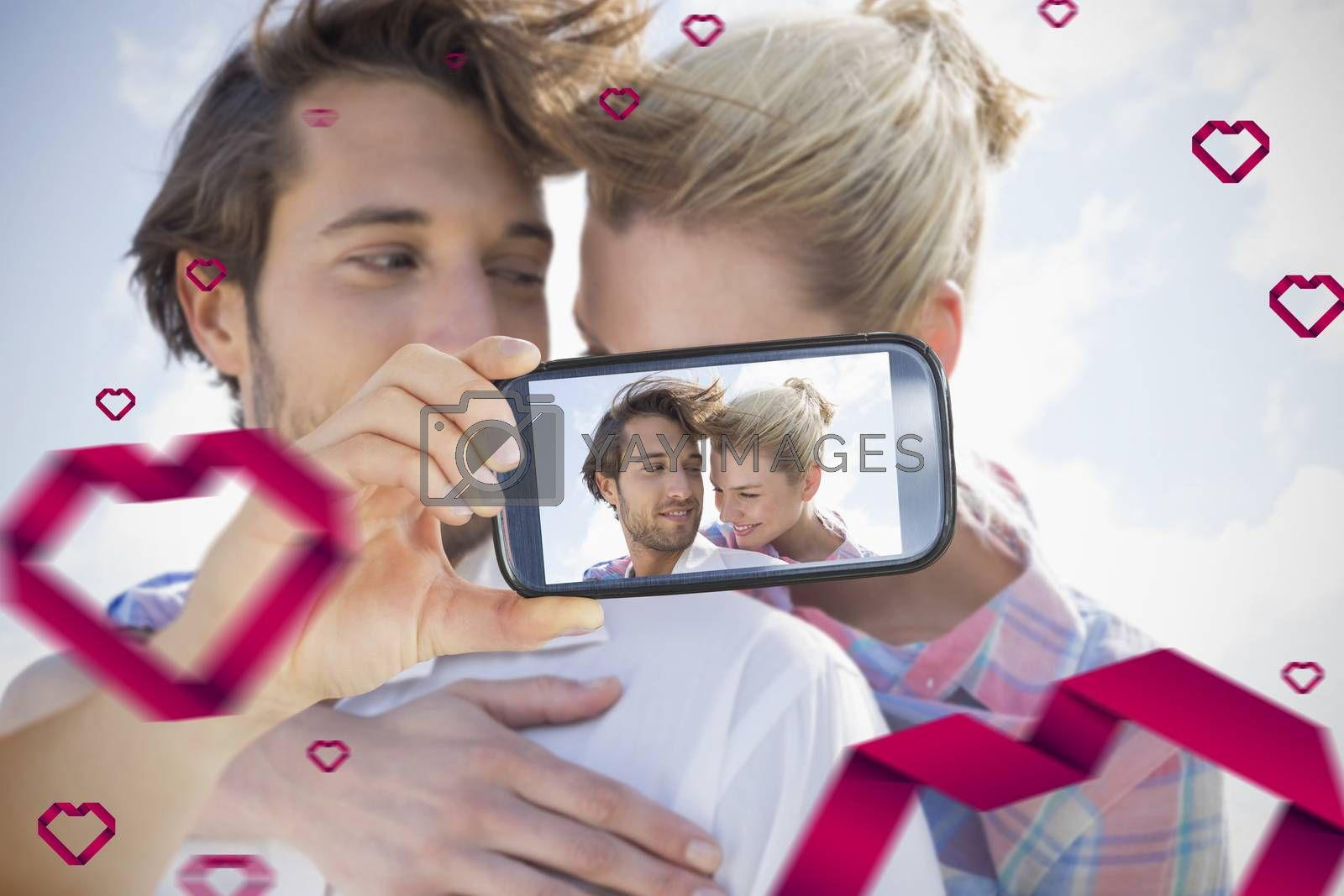 Composite of Couple taking Valentines selfie
