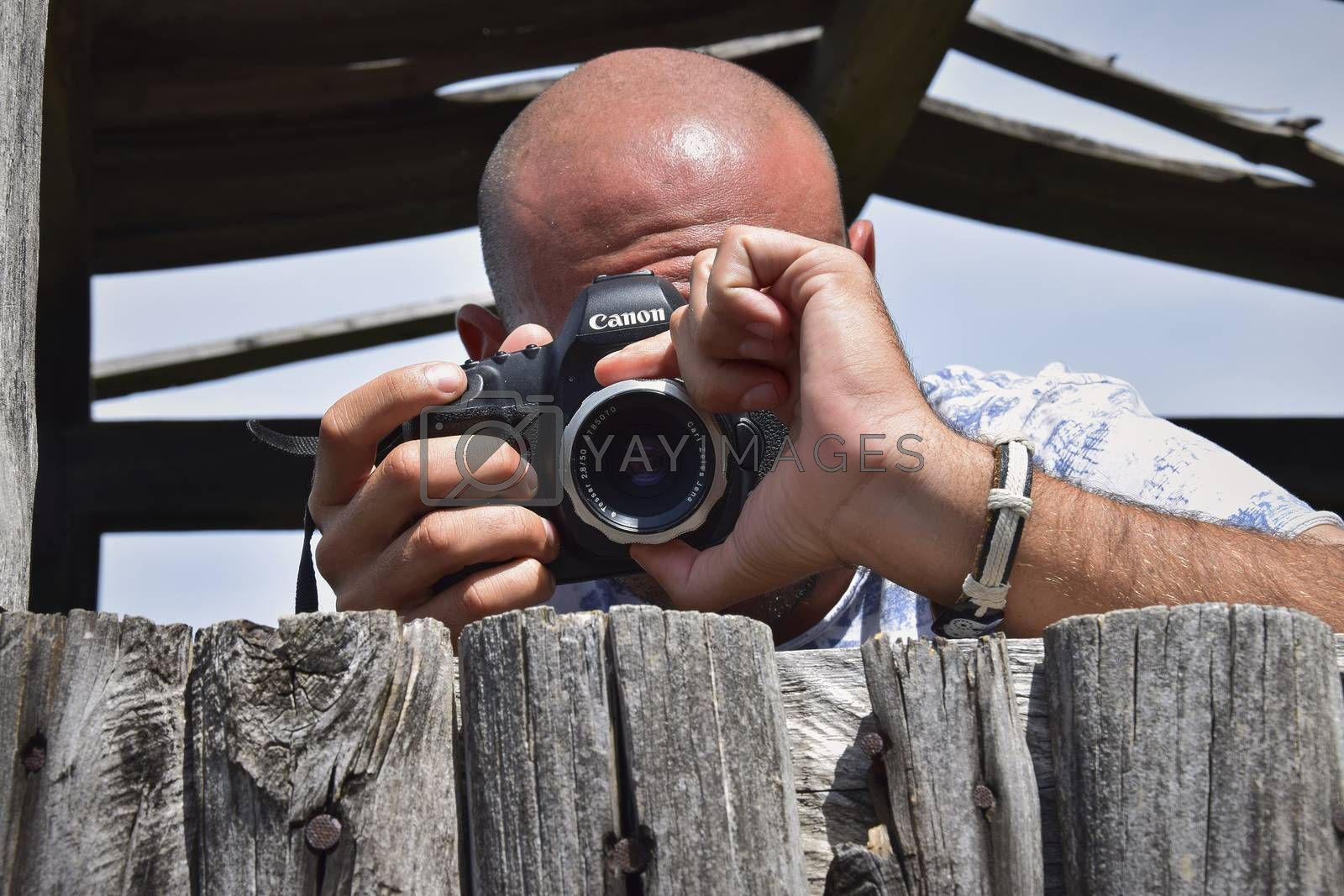 SA STIDDIOSA ITALY 24 JUNE 2019: Photographer in nature in action during a sunny day