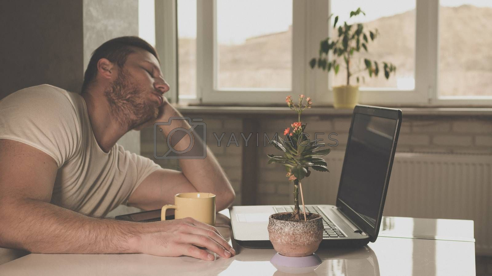 guy fell asleep at a desk with a laptop