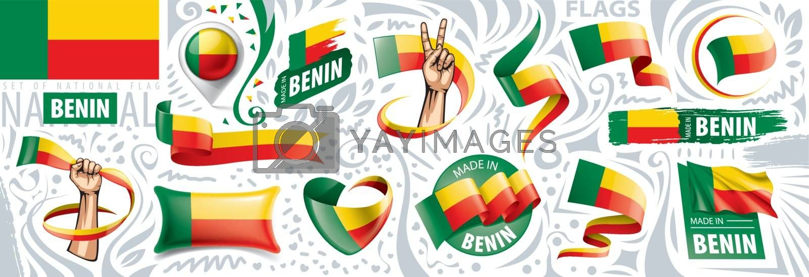 Vector set of the national flag of Benin in various creative designs.