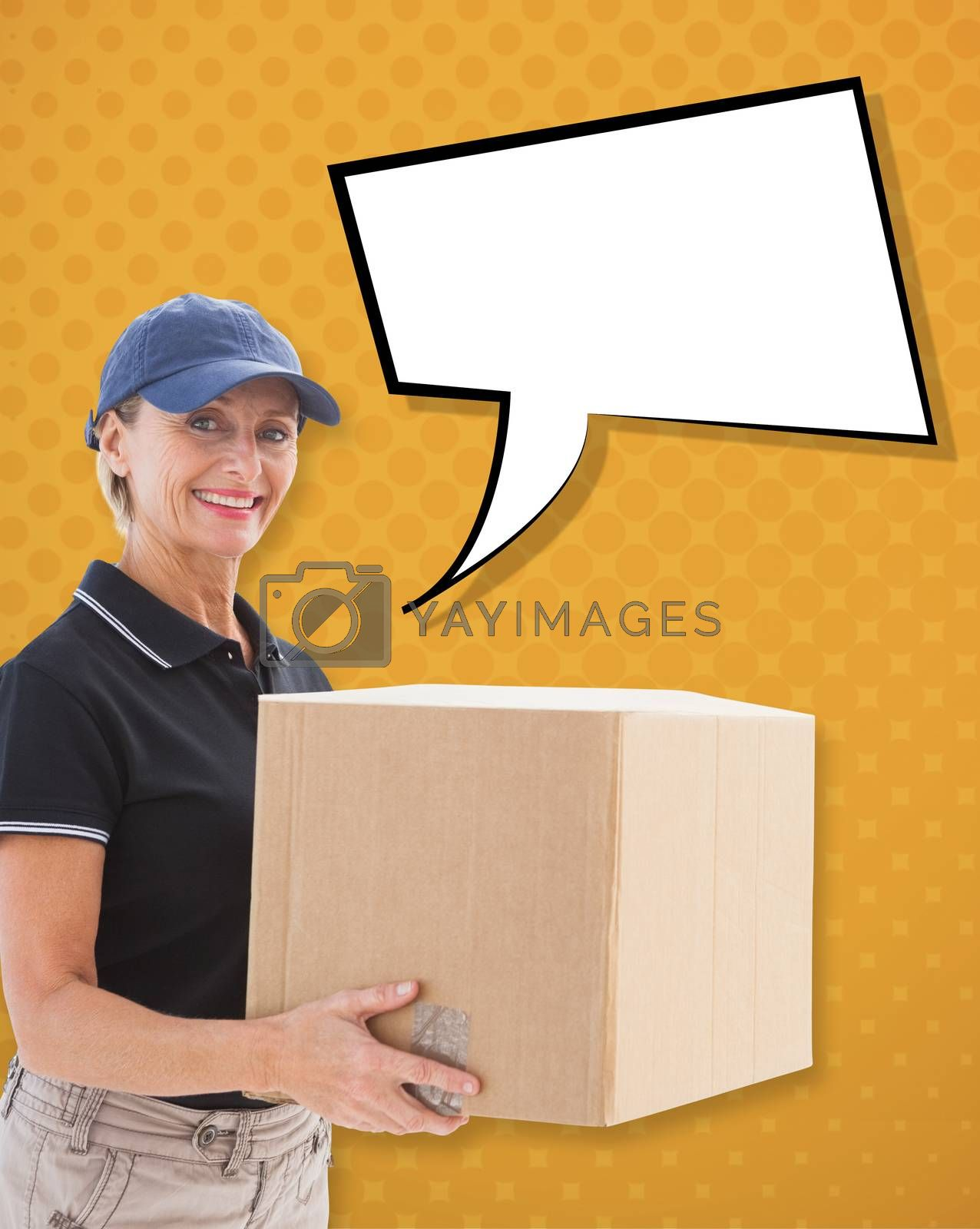 Happy delivery woman holding cardboard box against yellow
