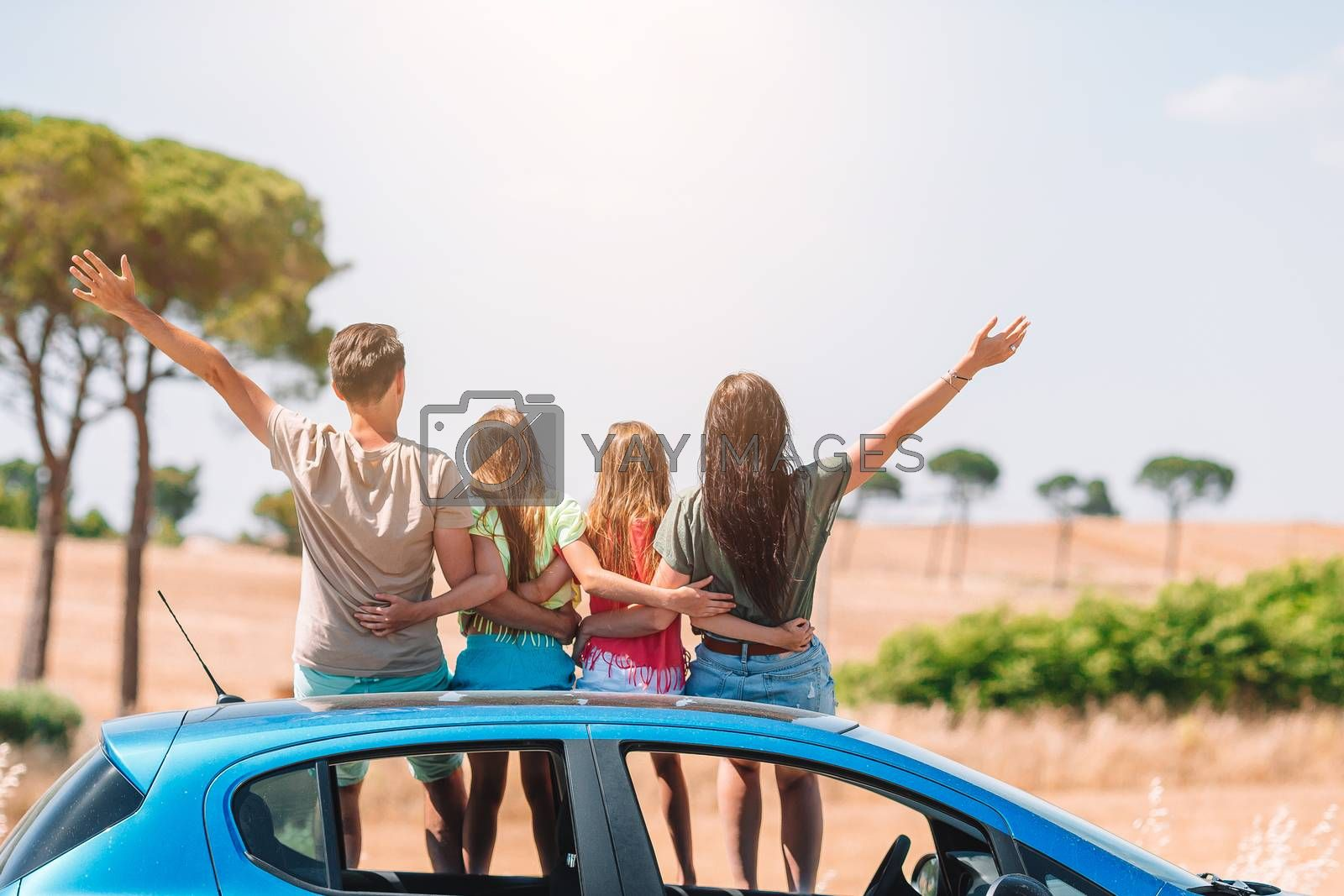 Family car summer vacation. European holiday and car travel concept