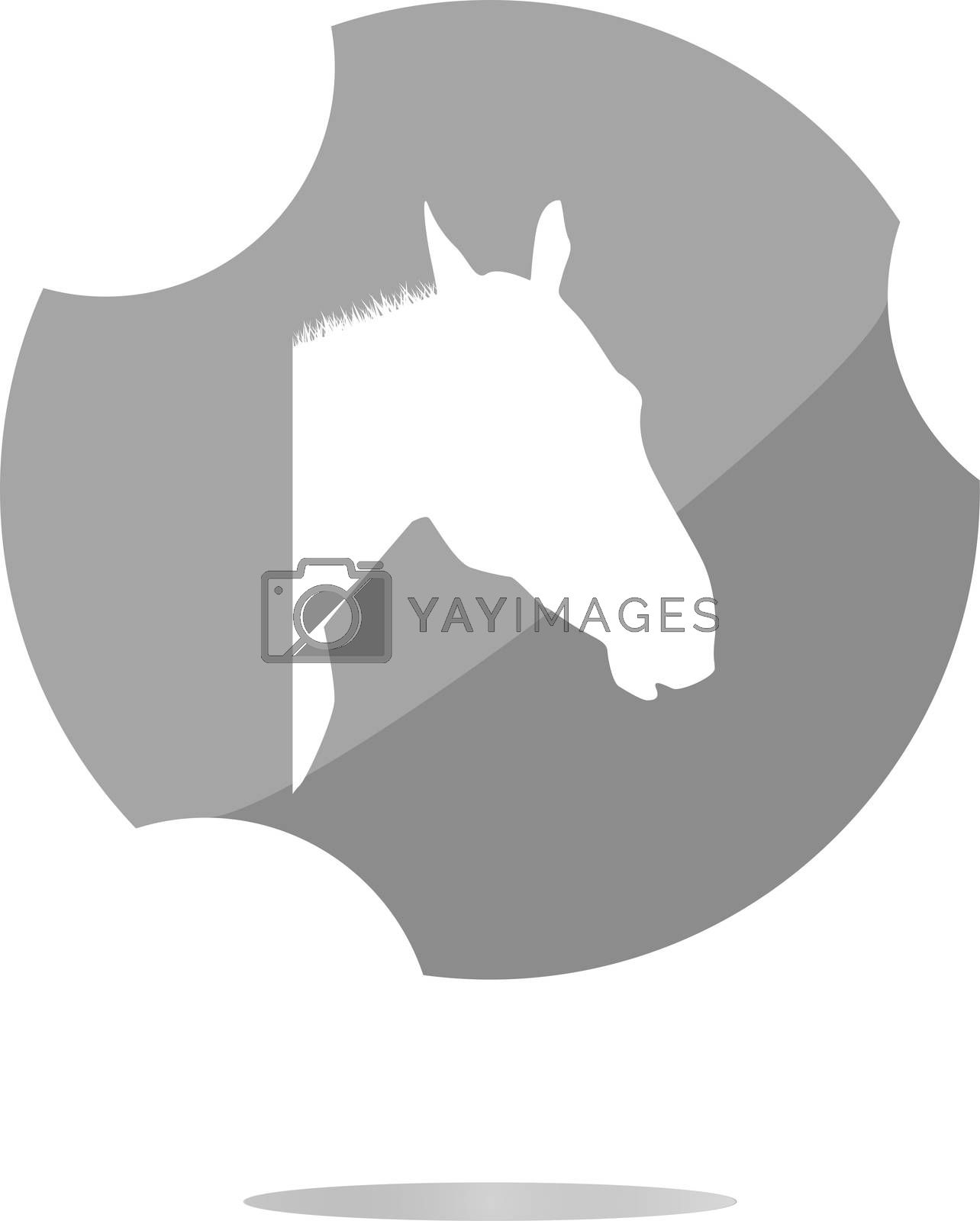 horse sign button, web app icon . Flat sign isolated on white background