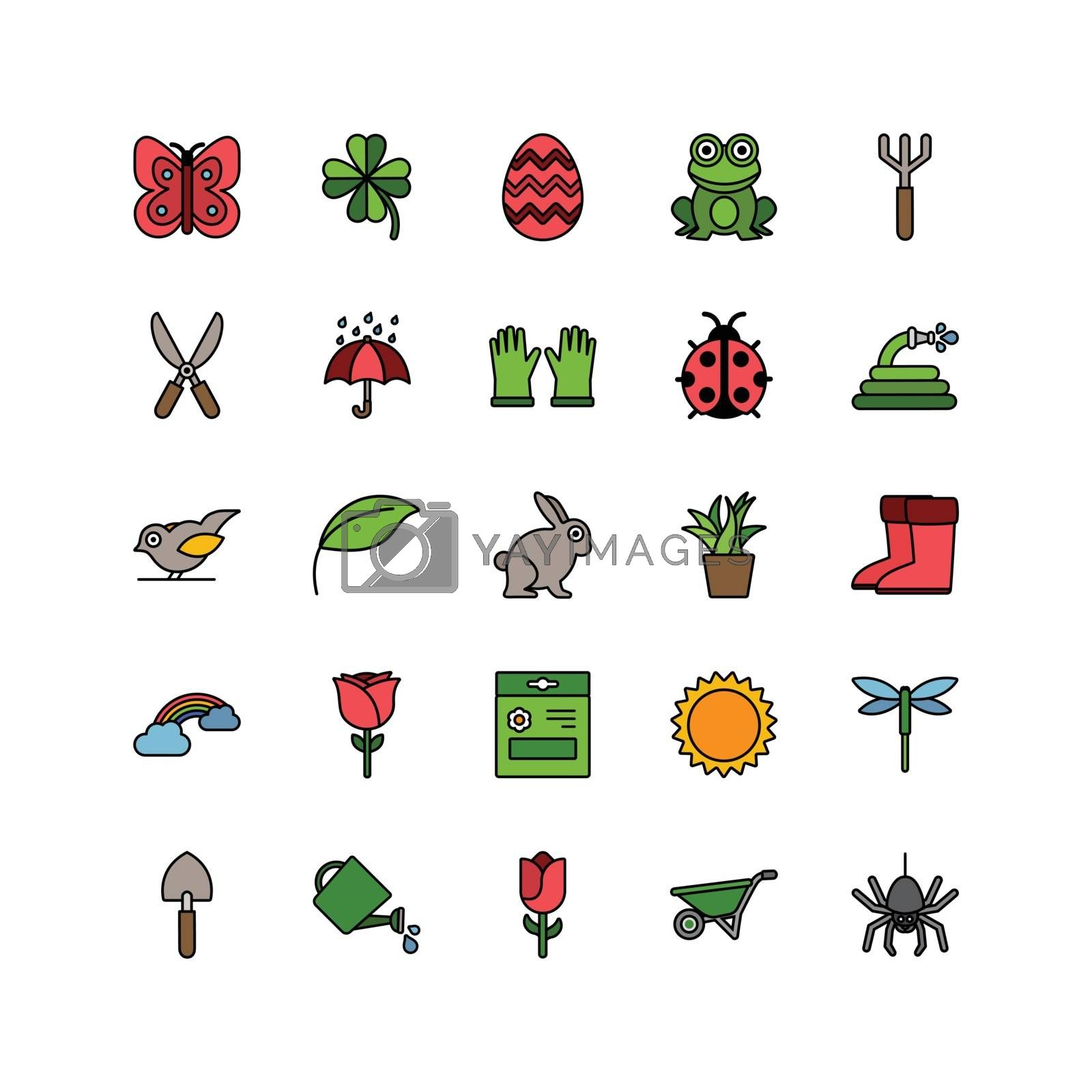 Spring and gardening. Color icon set. Filled vector illustration by imaagioStock