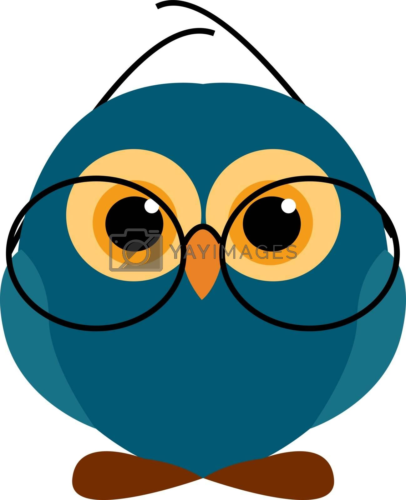 Blue owl with glasses, illustration, vector on white background.