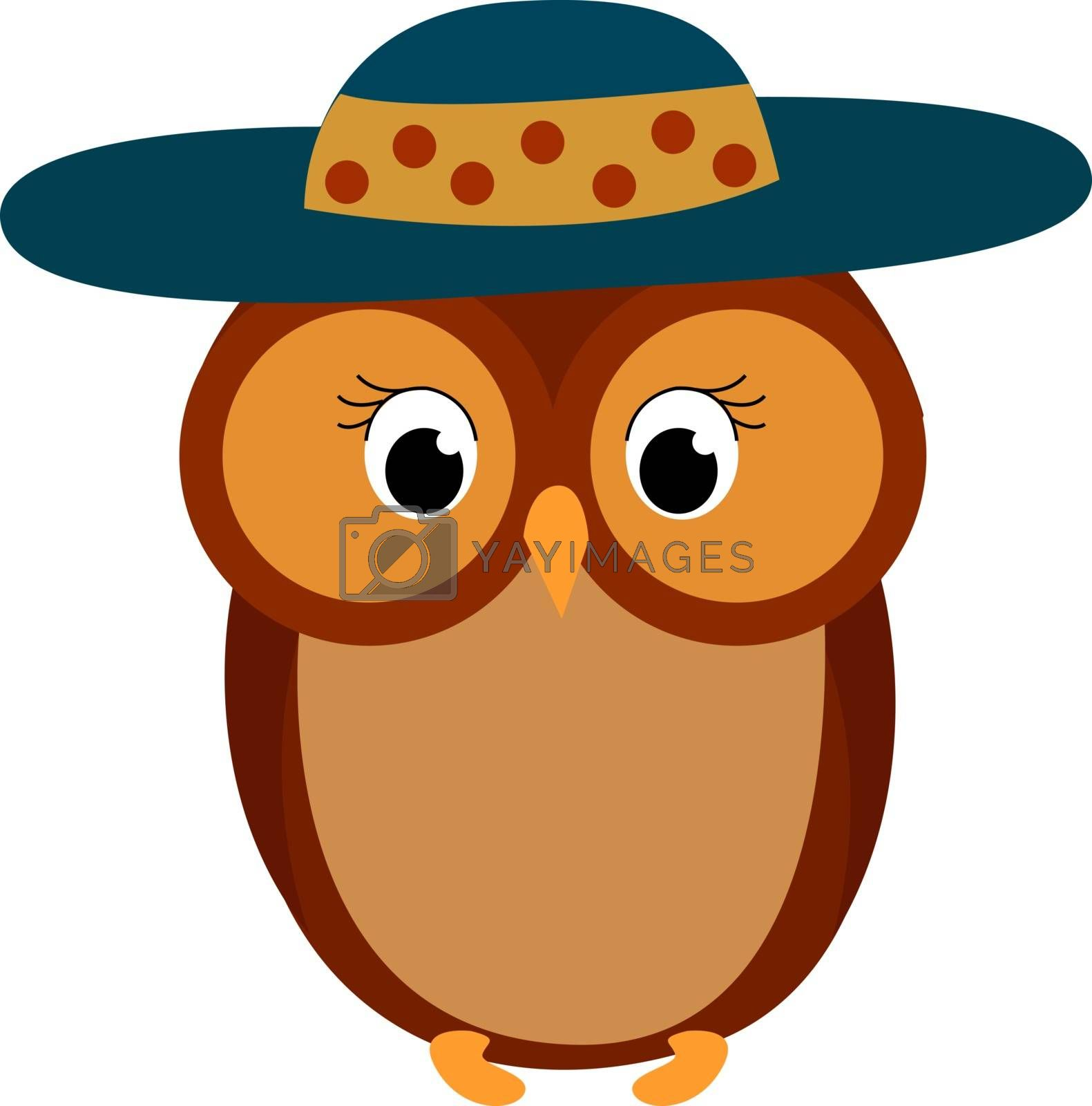 Owl with hat, illustration, vector on white background.