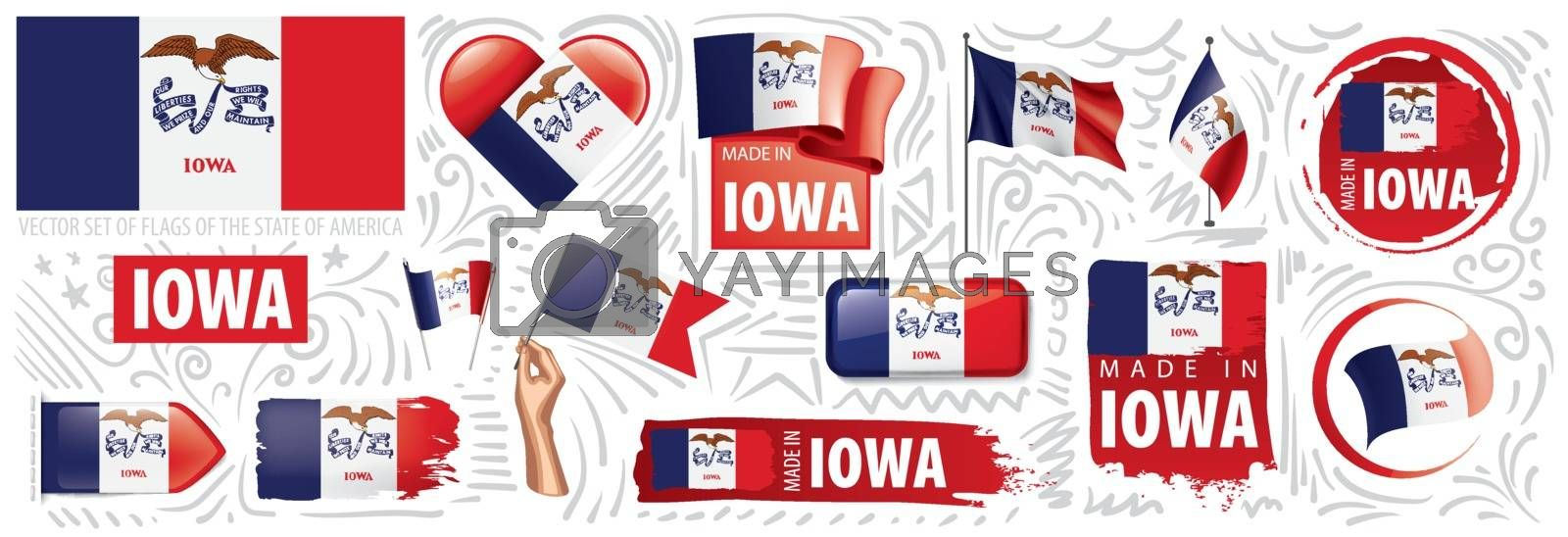 Vector set of flags of the American state of Iowa in different designs.