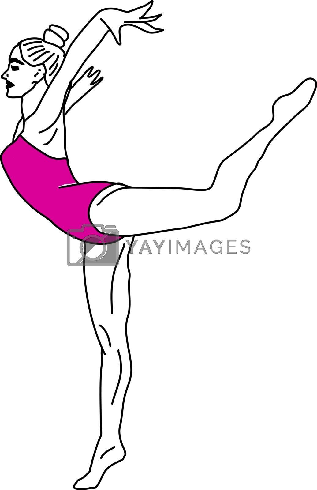 Yoga girl, illustration, vector on white background.